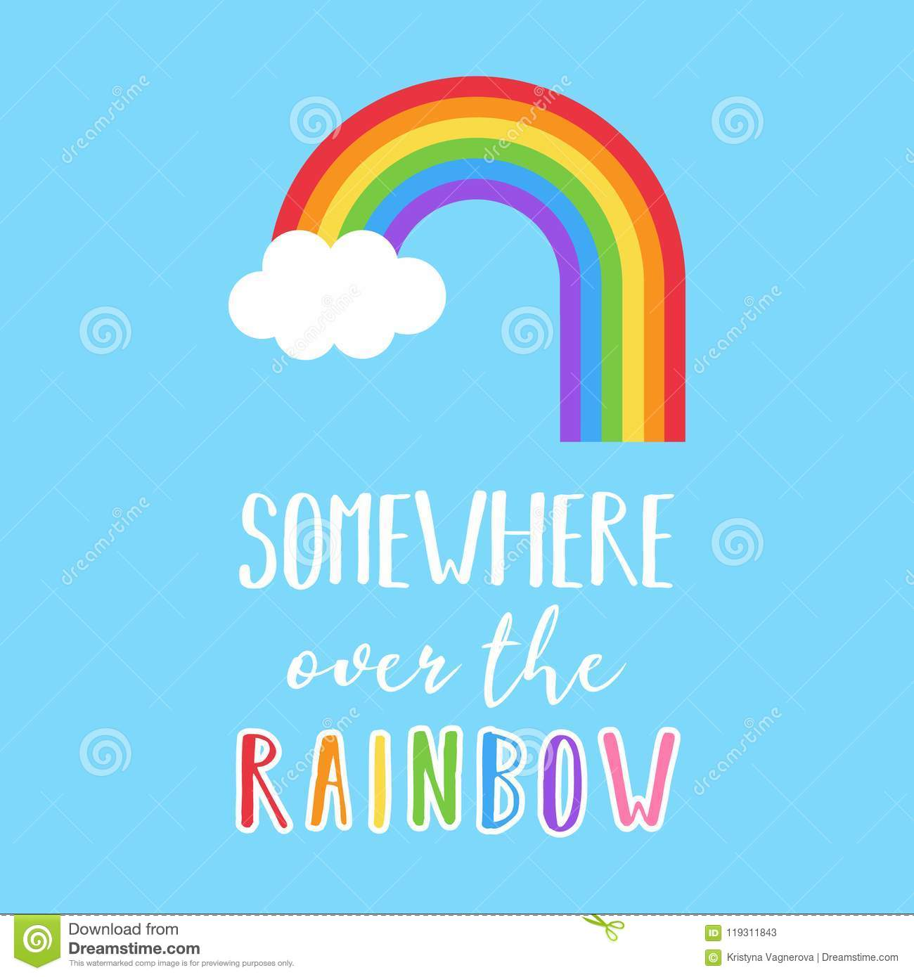Somewhere Over The Rainbow Vector Illustration Stock Vector