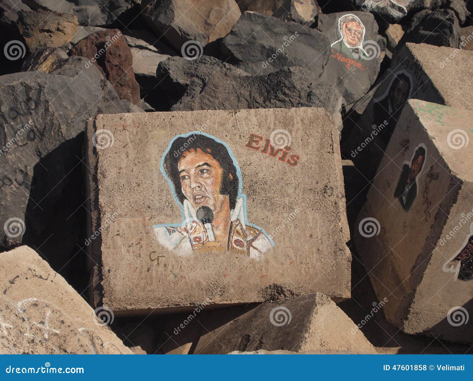Somiglianza di Elvis sulla pietra