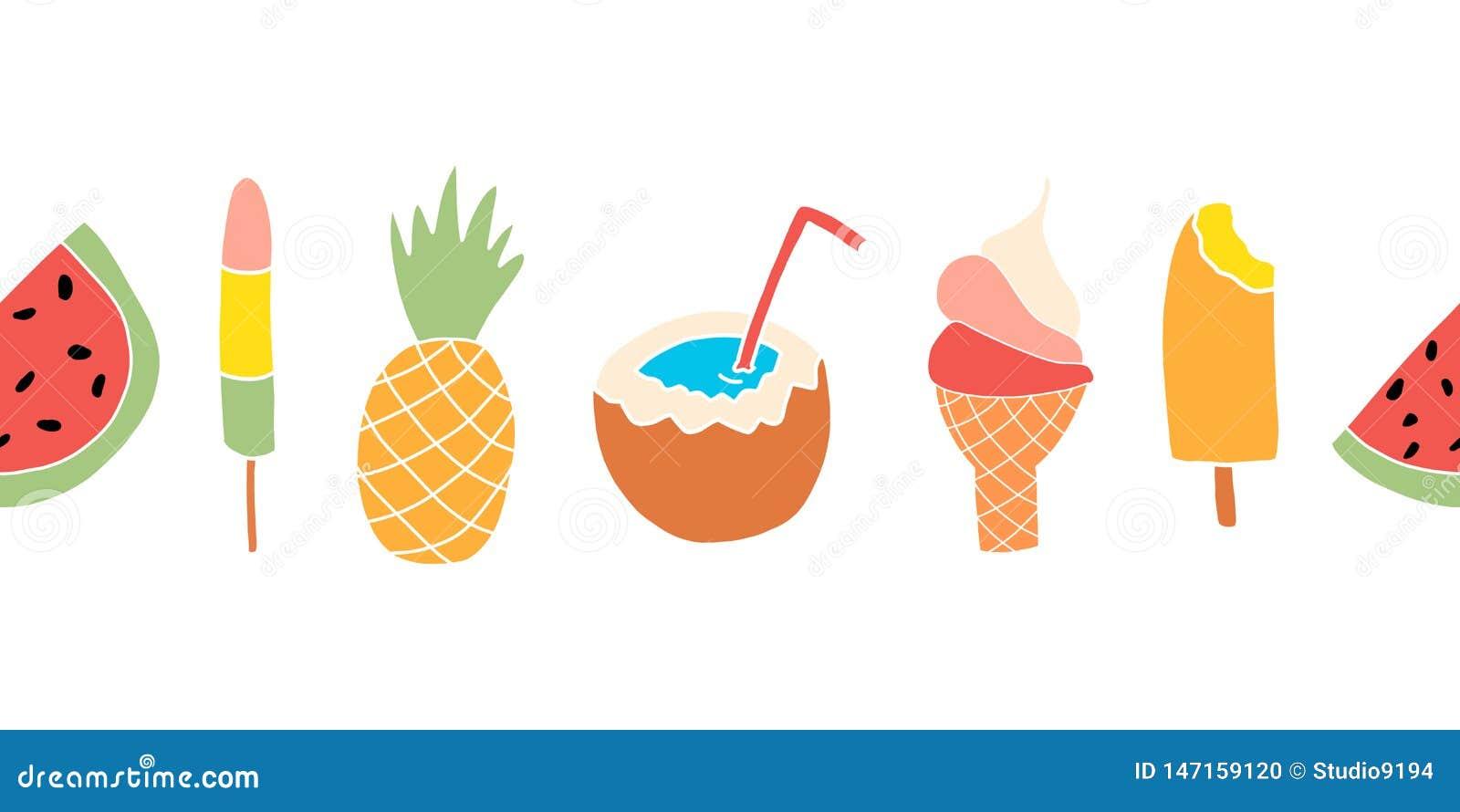 Sommar behandlar den sömlösa vektorgränsen Upprepa banerdesign med vattenmelon, isglass, ananas, kokosnöt, glass
