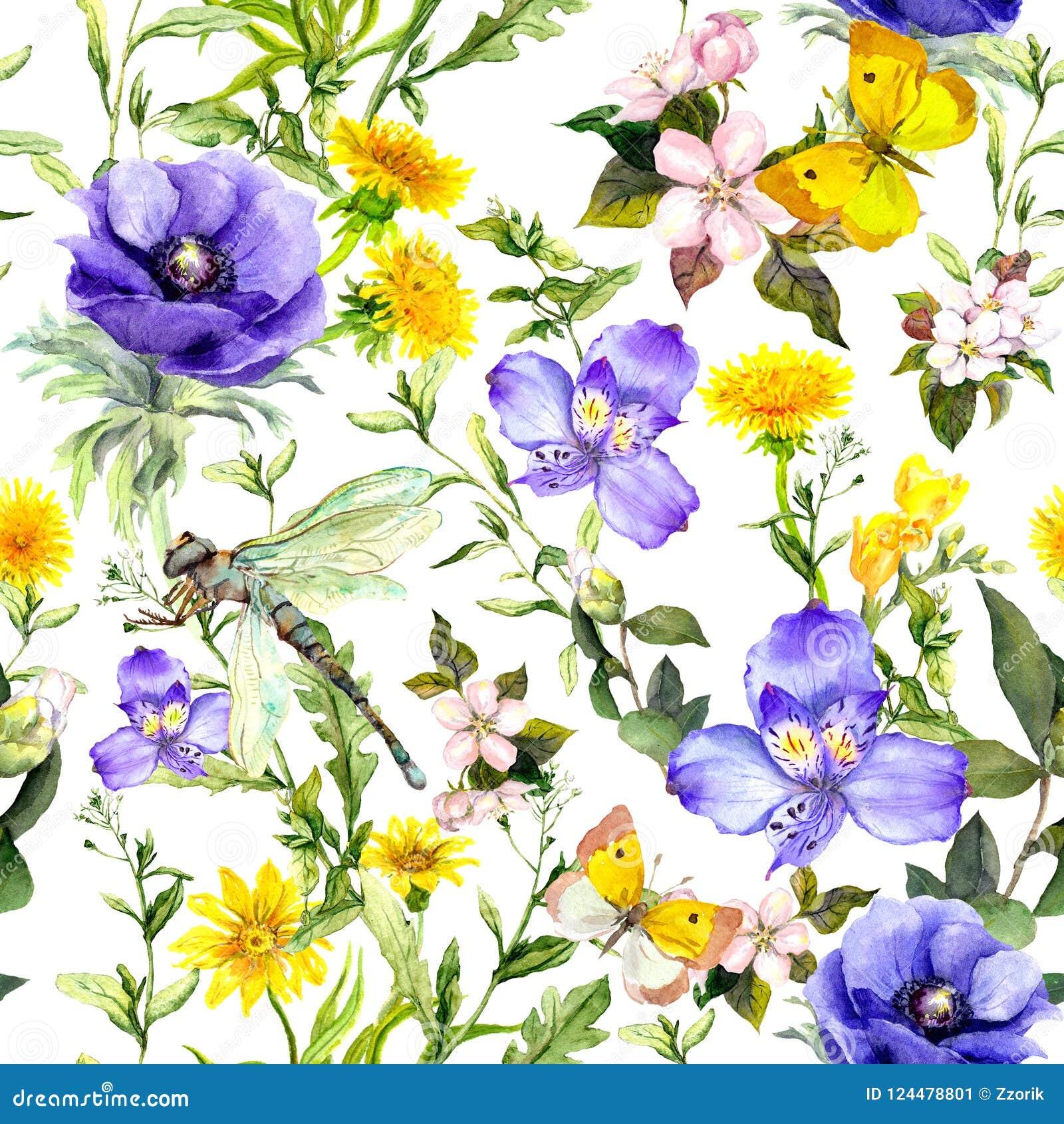 Sommar blommar, änggräs, vårörter naturligt seamless för bakgrund Vattenfärg i blåttfärg