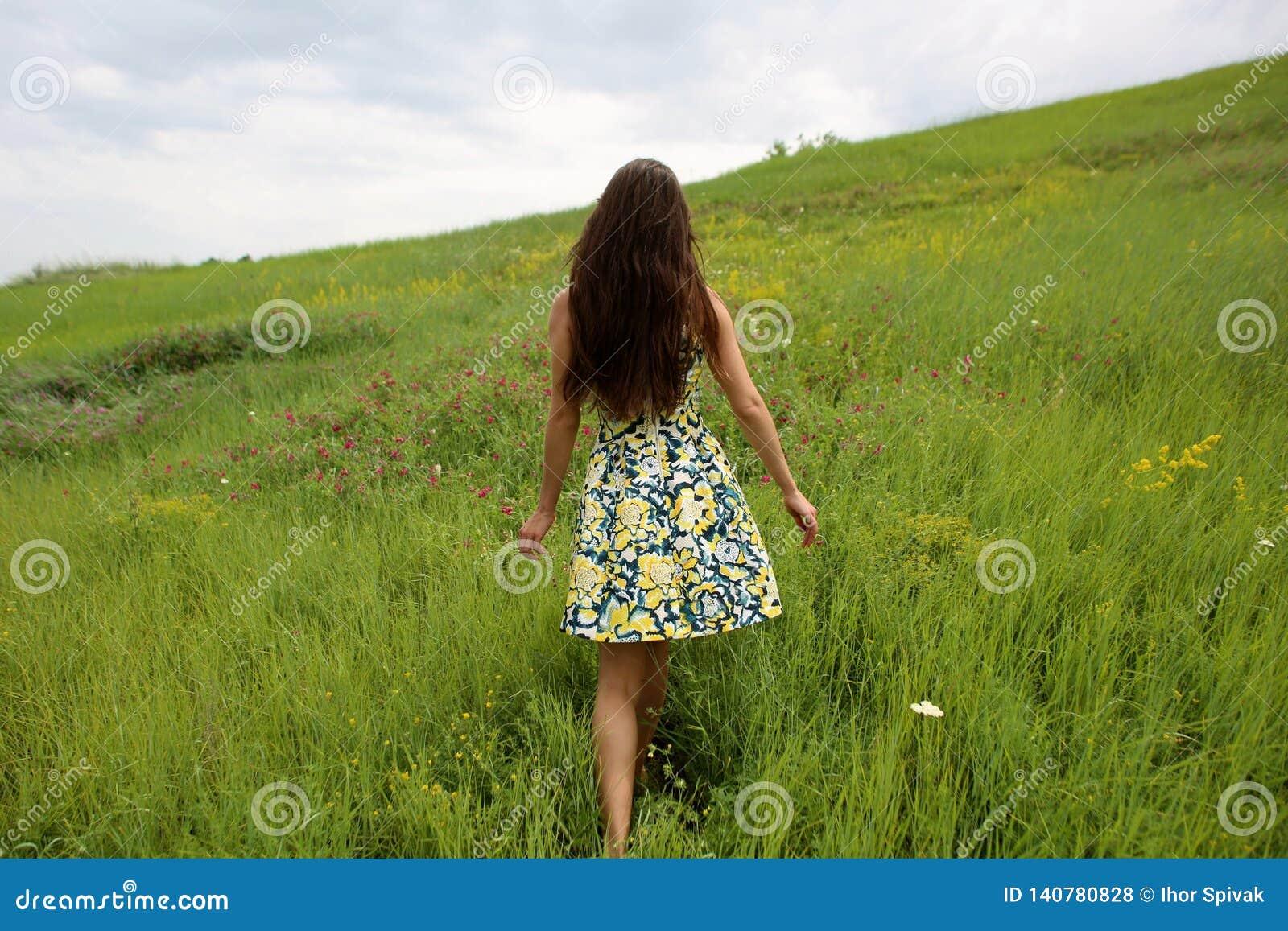 Sommar går på en grön ravin, en ung slank nätt flicka med långt brunt hår i gula sundress för en klänning, tycker om liv