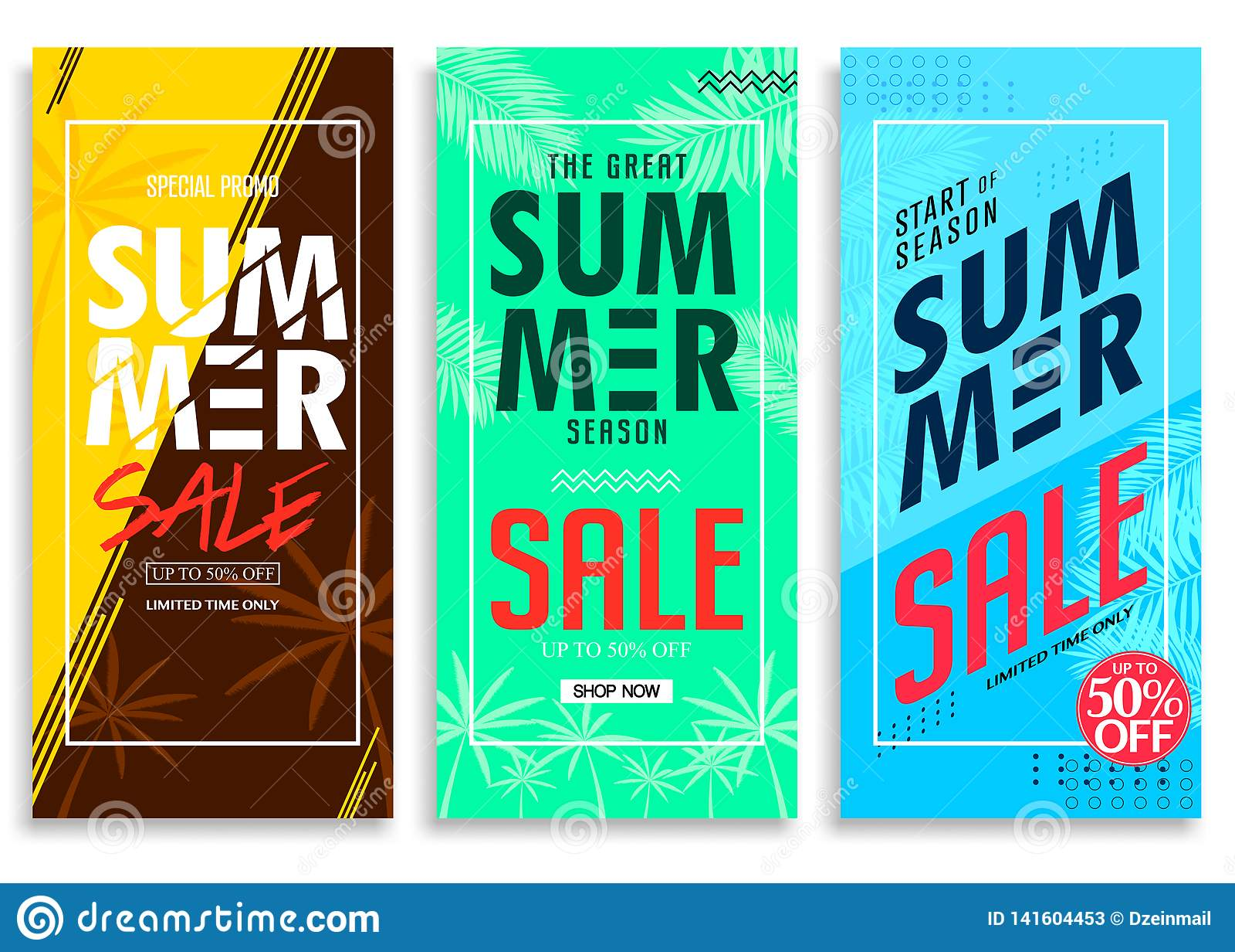 Sommar Sale upp till 50  av färgrik ljus livlig färgbakgrund, nytt stilfullt dekorativt mönstrat vertikalt handtag upp banerSe