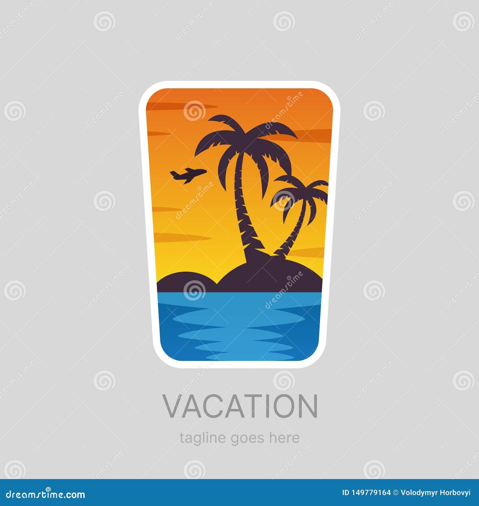 Sommar tropiskt semesterlandskap, gömma i handflatan strandlogotypen