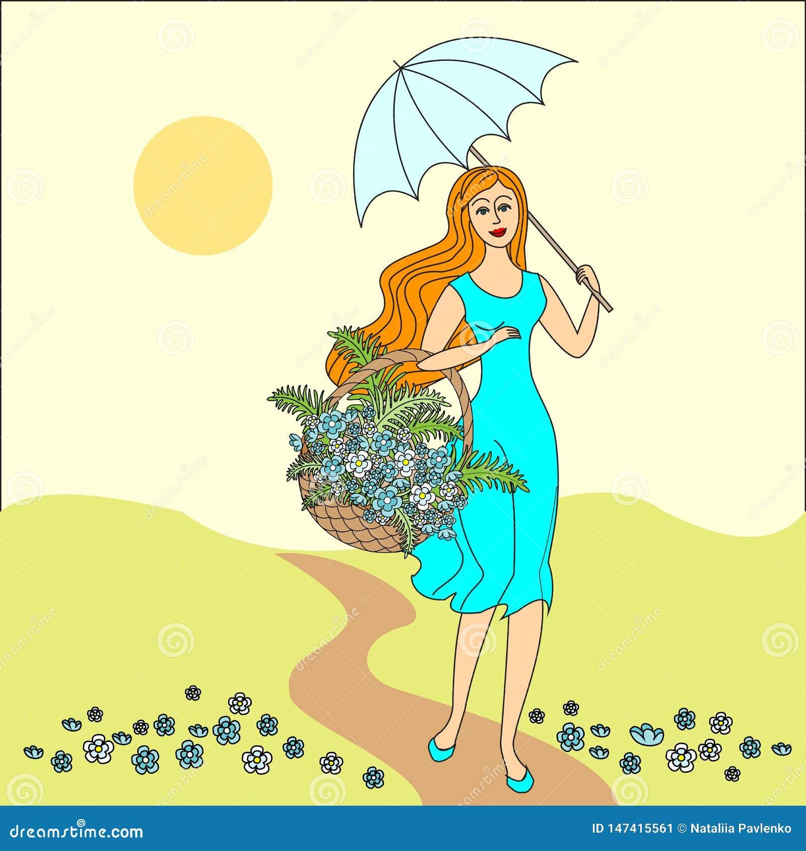 SOMMAREN landskap H?rlig flicka med en korg av blommor festlig vykort ocks? vektor f?r coreldrawillustration