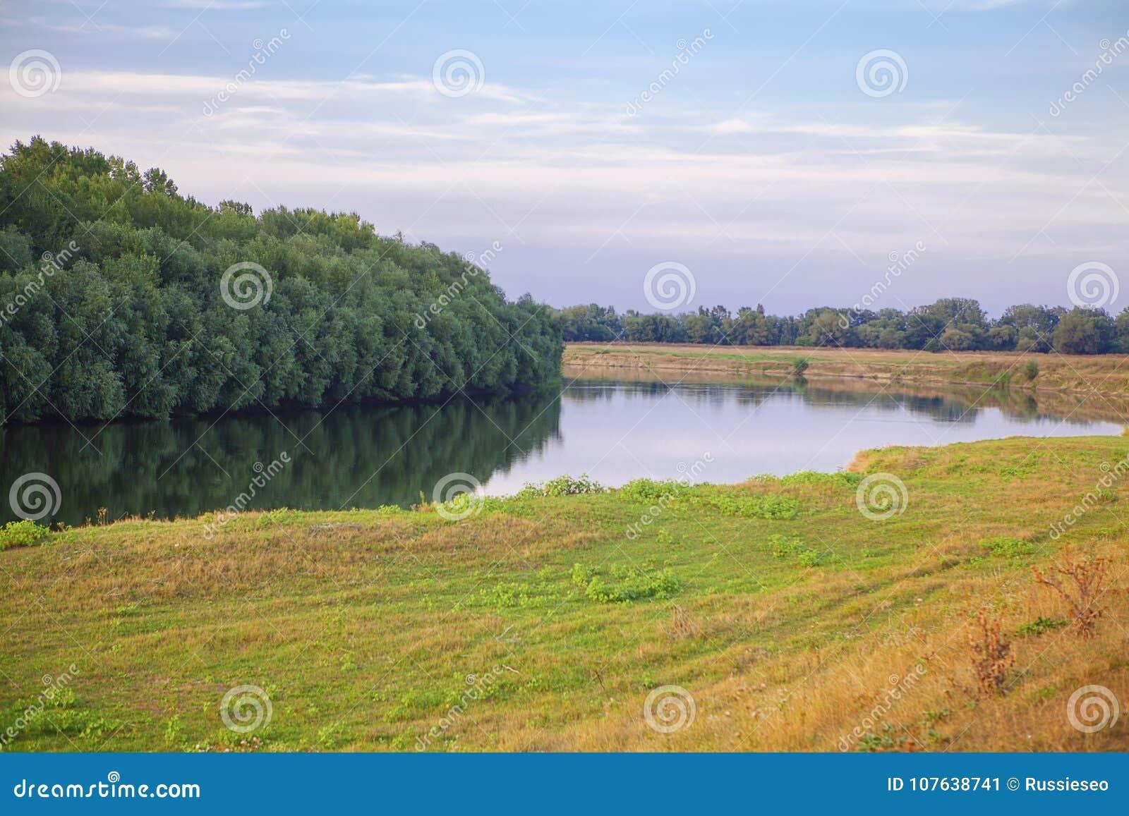 Sommaren landskap med floden