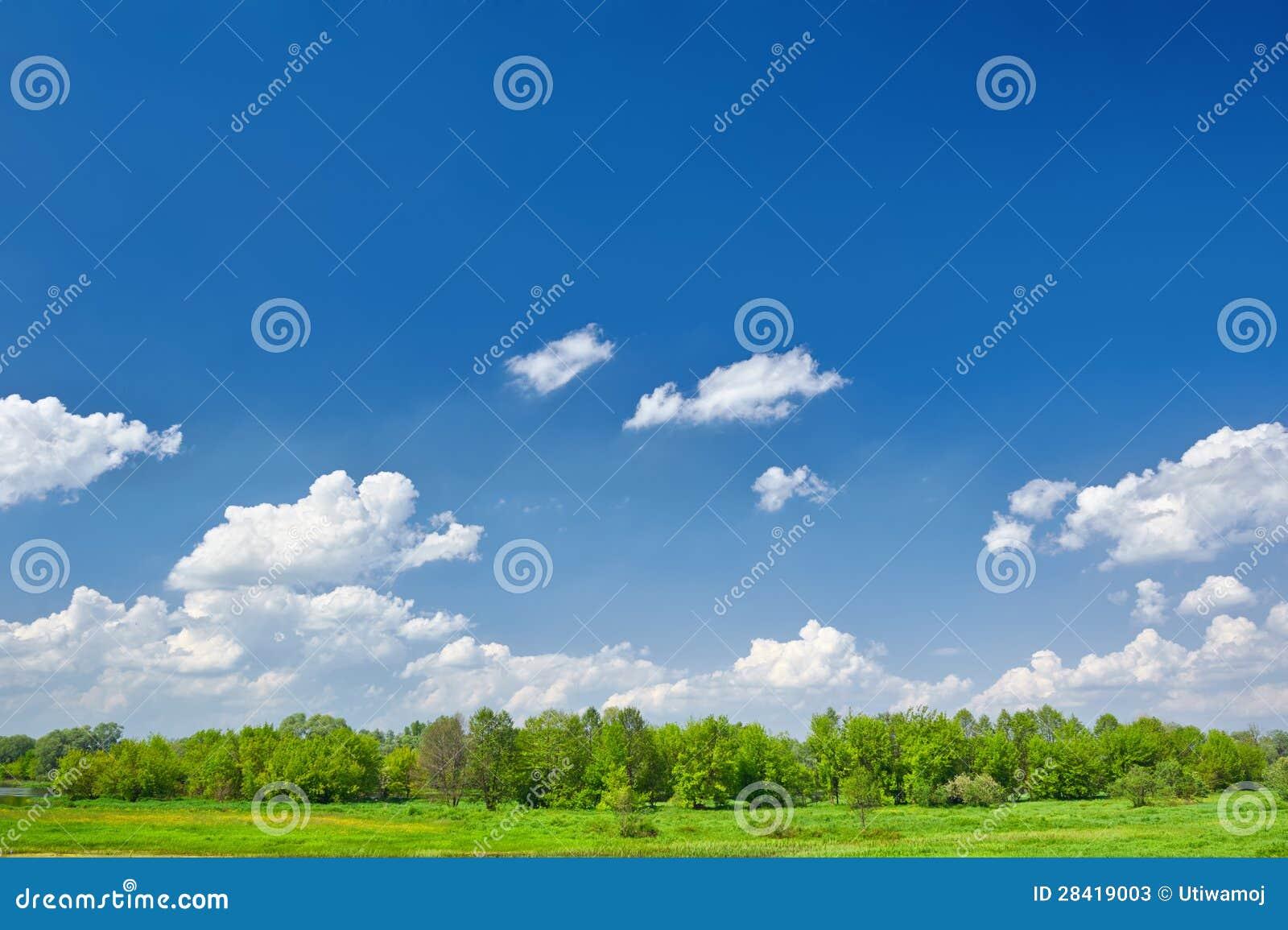 Sommaren landskap med moln på blåttskyen.
