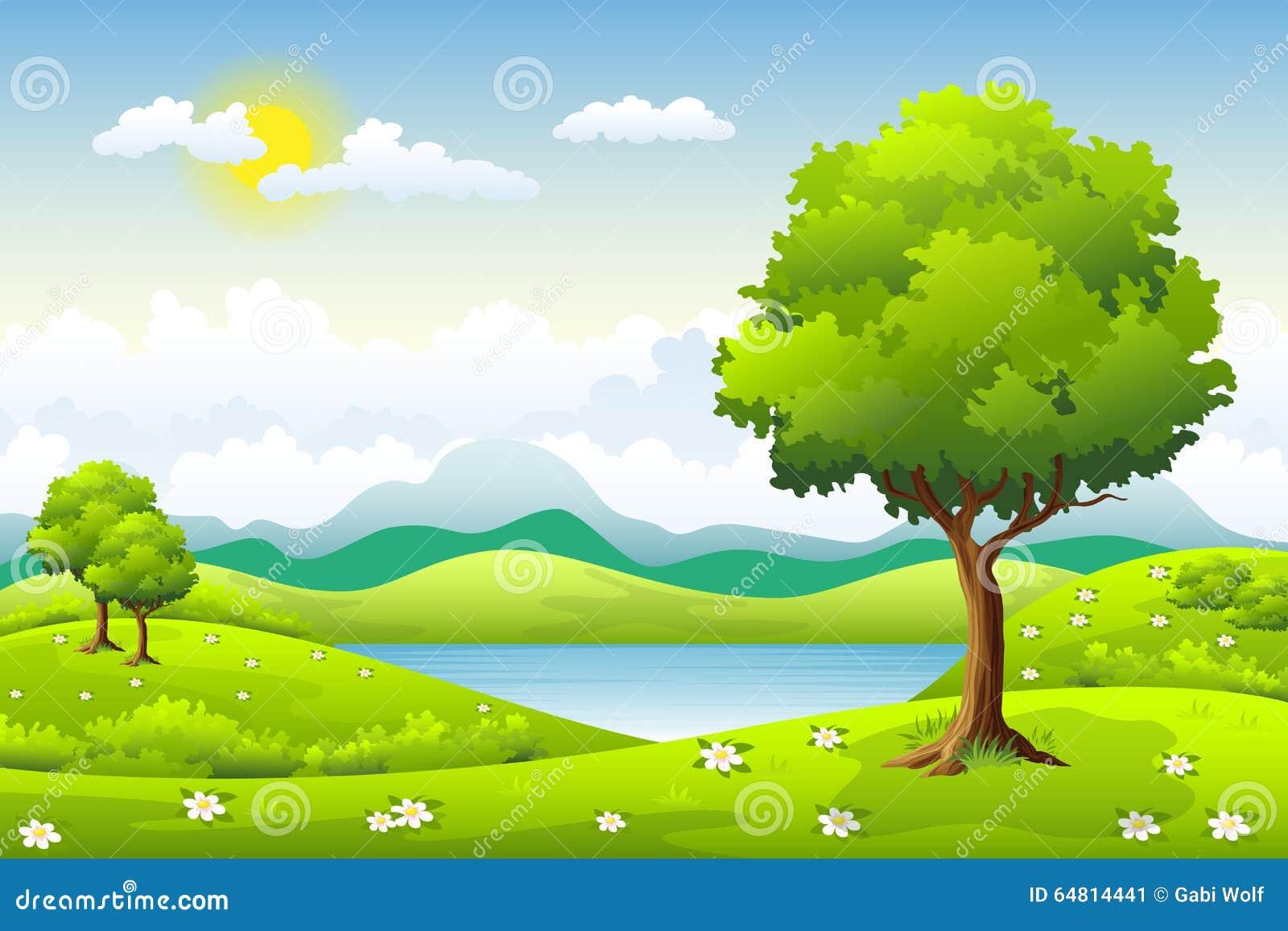 Sommaren landskap med trees