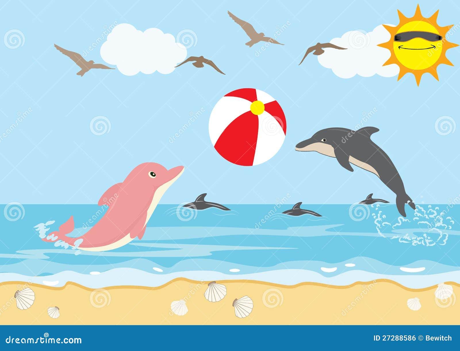 Sommarferie med stranden för delfinspelrumboll