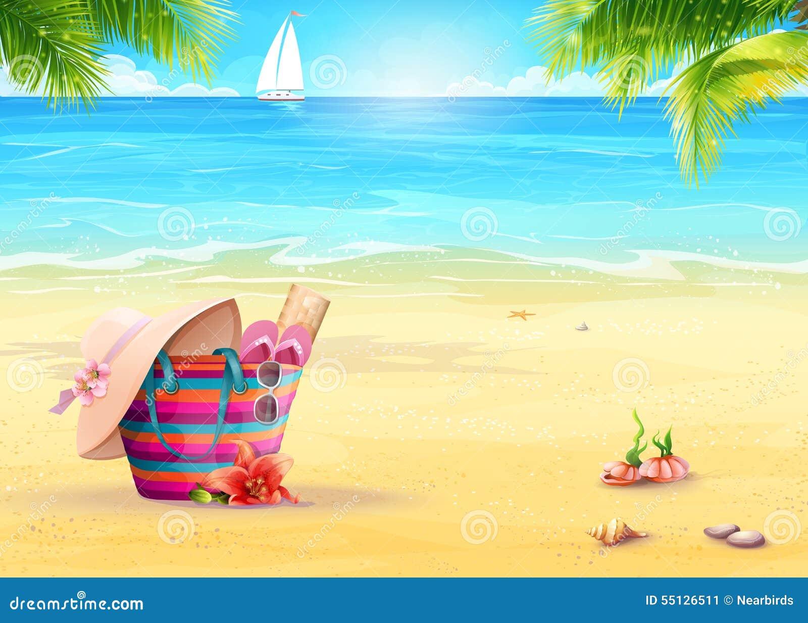 Sommarillustration med en strandpåse i sanden mot havs- och vitsegelbåten