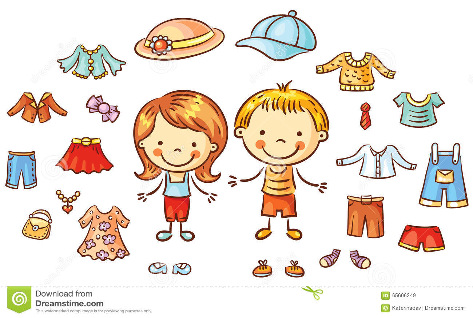 Sommarkläder ställer in för en pojke, och en flicka, objekt kan vara pålagd