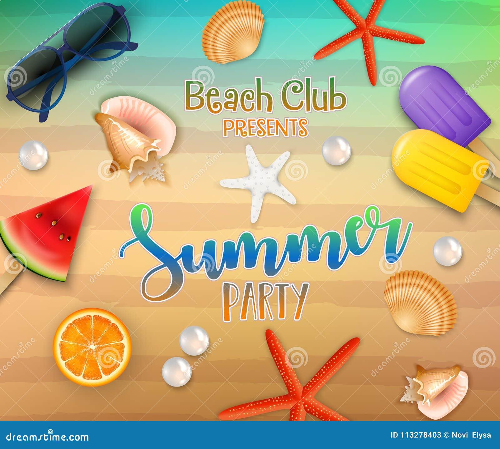 Sommarpartibakgrund Bästa sikt på den ny sjöstjärna, apelsinen, vattenmelon, koraller, solglasögon, glassar, pärlan och havssand