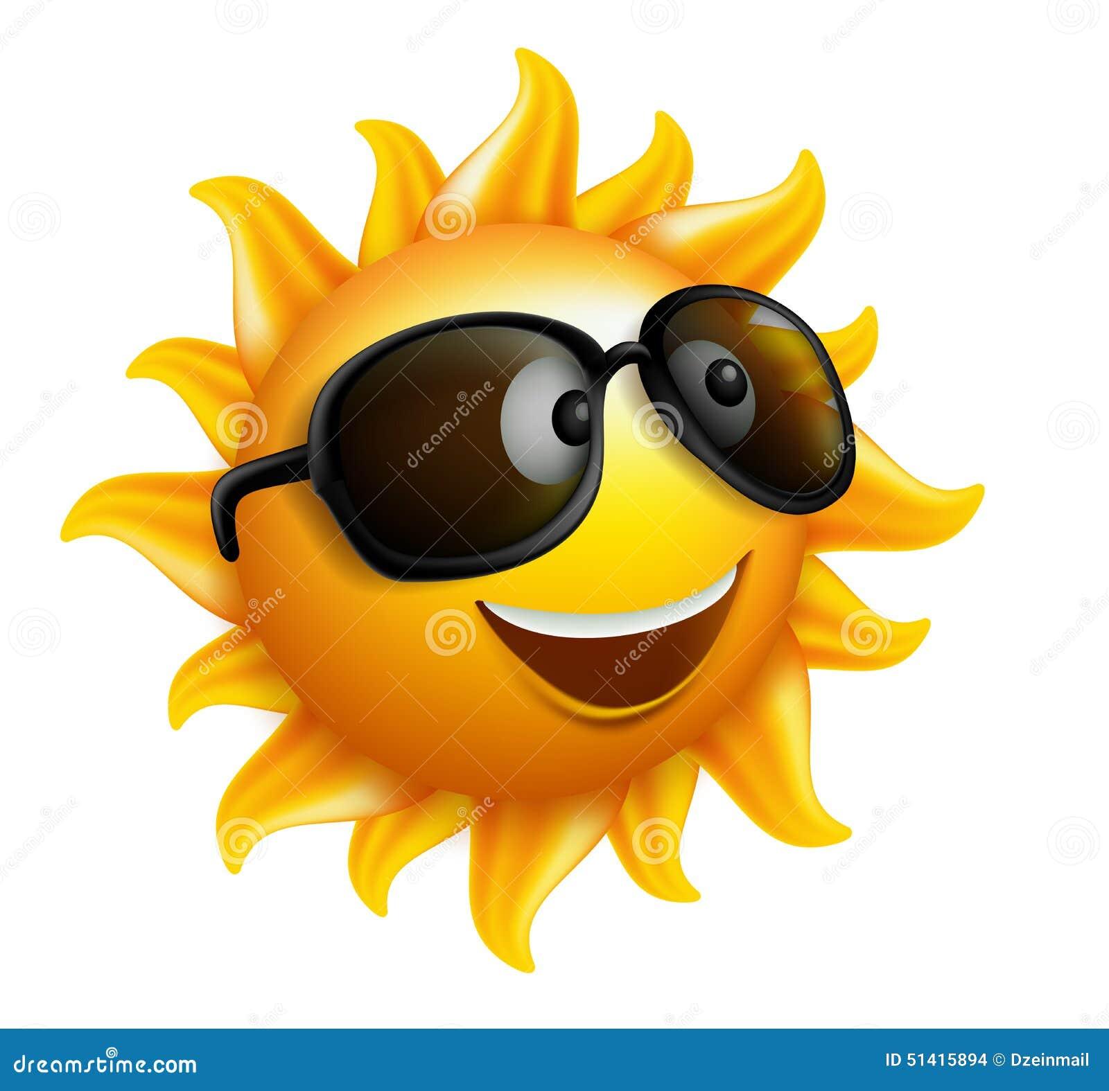 Sommarsolframsida med solglasögon och lyckligt leende
