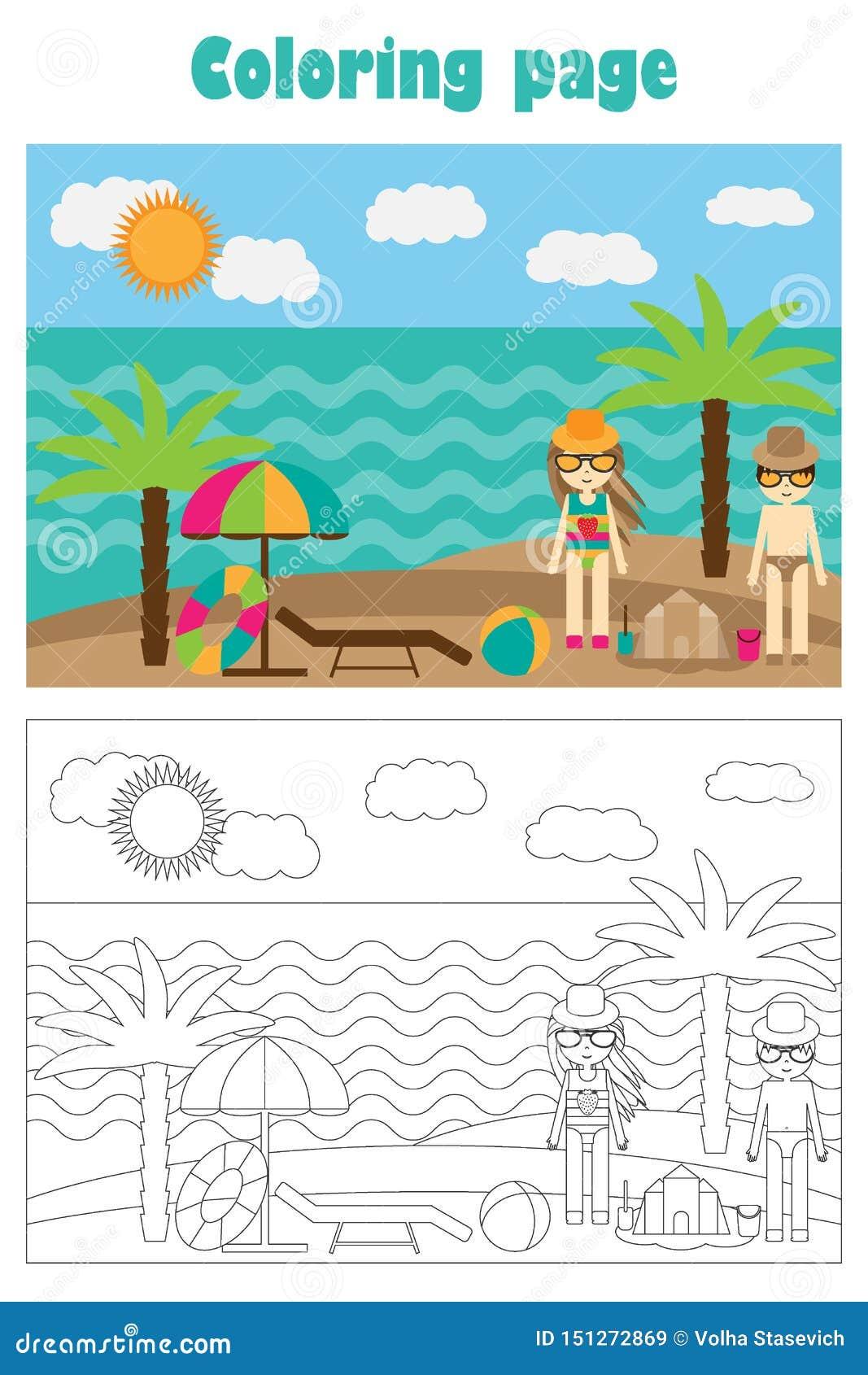 Sommarstrand i tecknad filmstil, sommarfärgläggningsida, utbildningspapperslek för utvecklingen av barn, förskole- aktivitet för