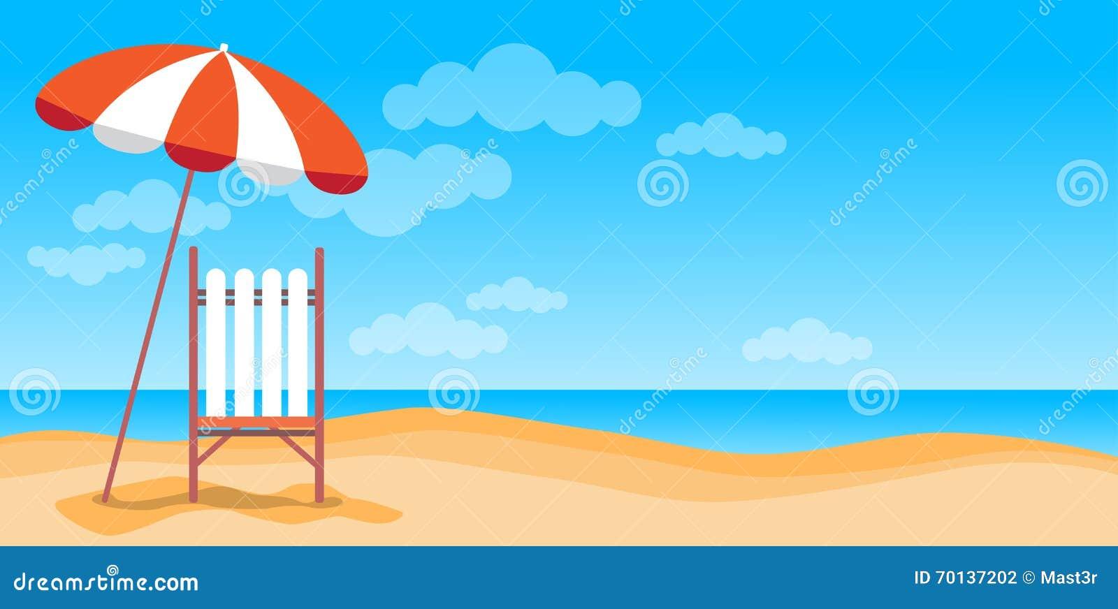 Sommarstrandsemester Sunbed med utrymme för kopia för baner för paraplysand tropiskt