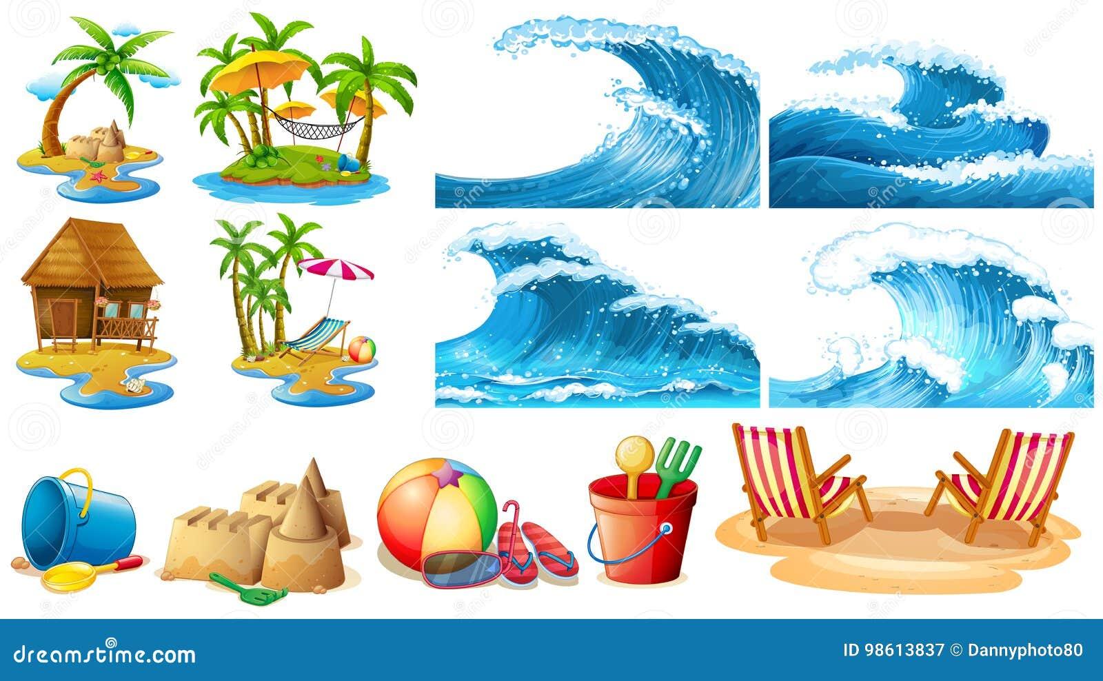 Sommartema med blåttvågor och öar