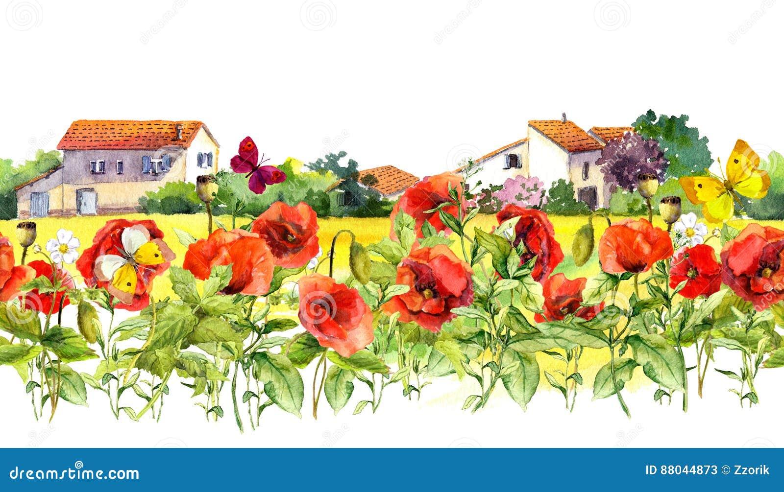 Sommarvallmo blommar, fjärilar, provencal hus blom- kant Vattenfärg upprepat ramband