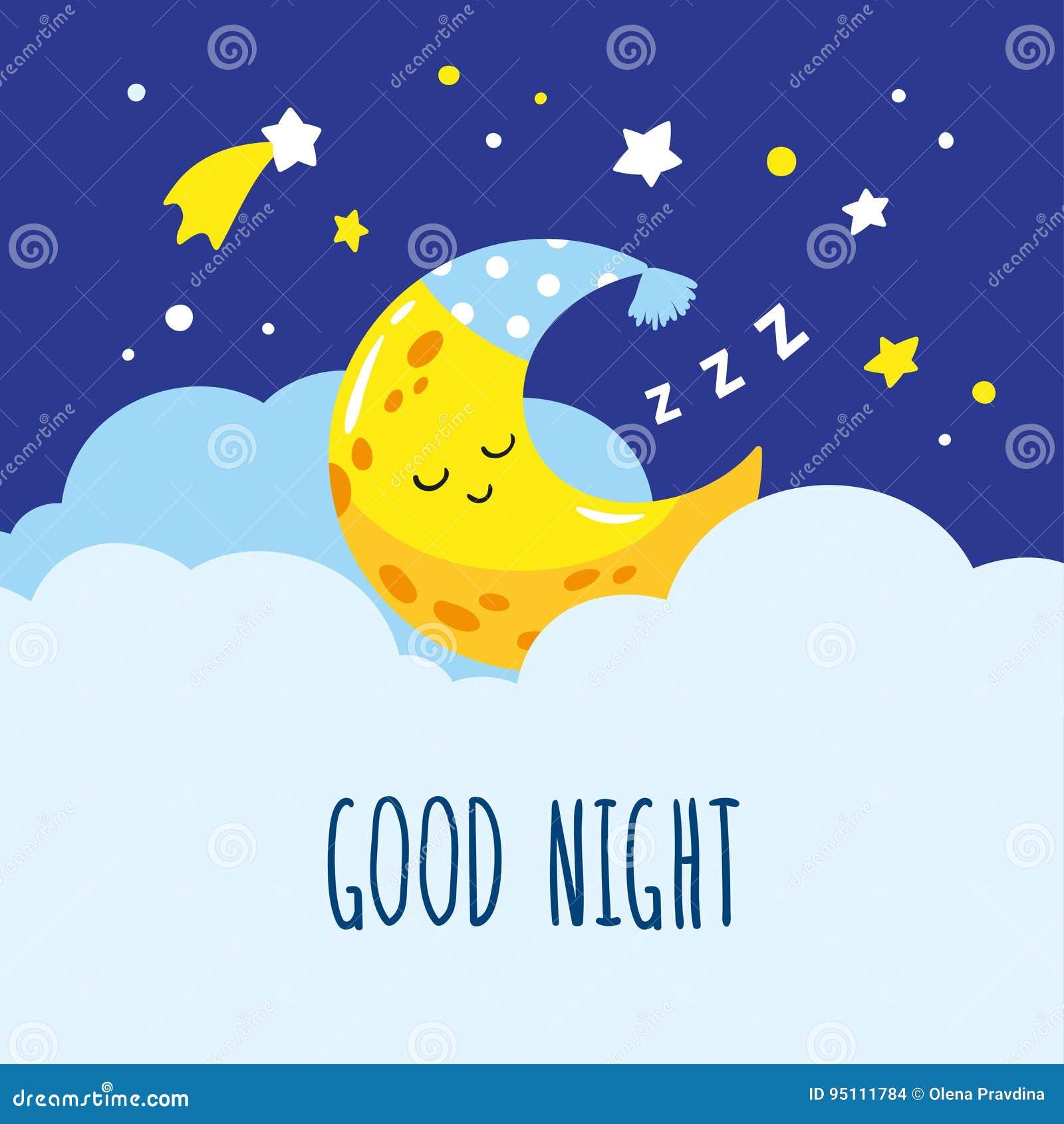Sommeil en croissant mignon sur un nuage Bonne nuit d inscription manuscrite