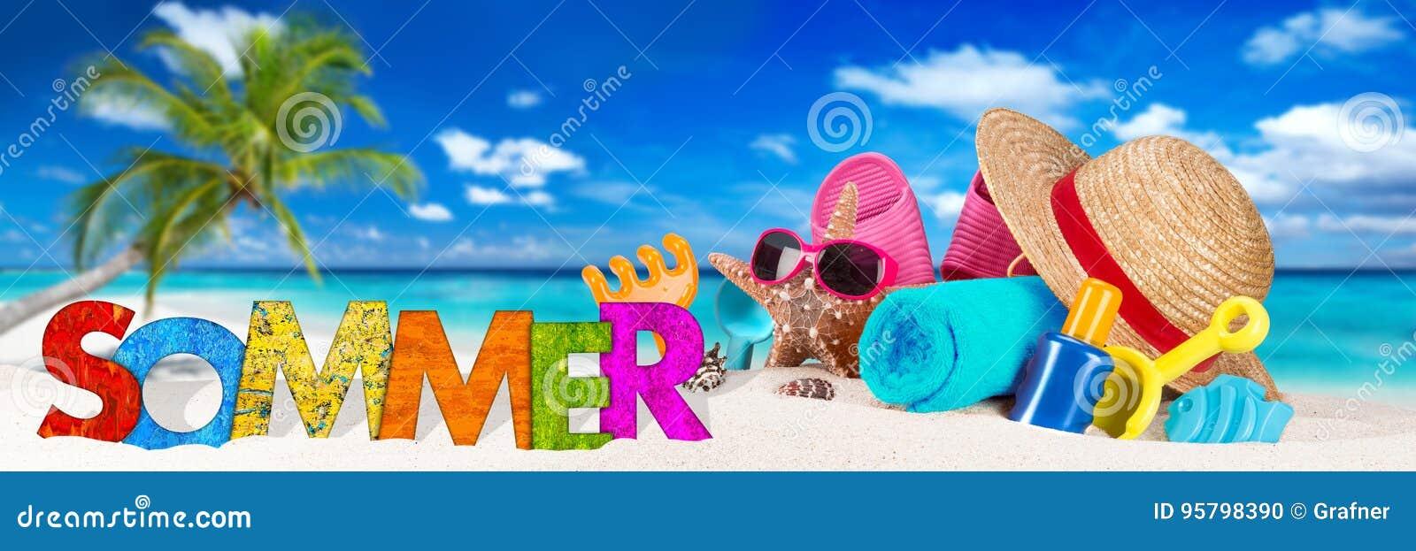 Sommer/accessoire d été sur la plage tropicale de paradis