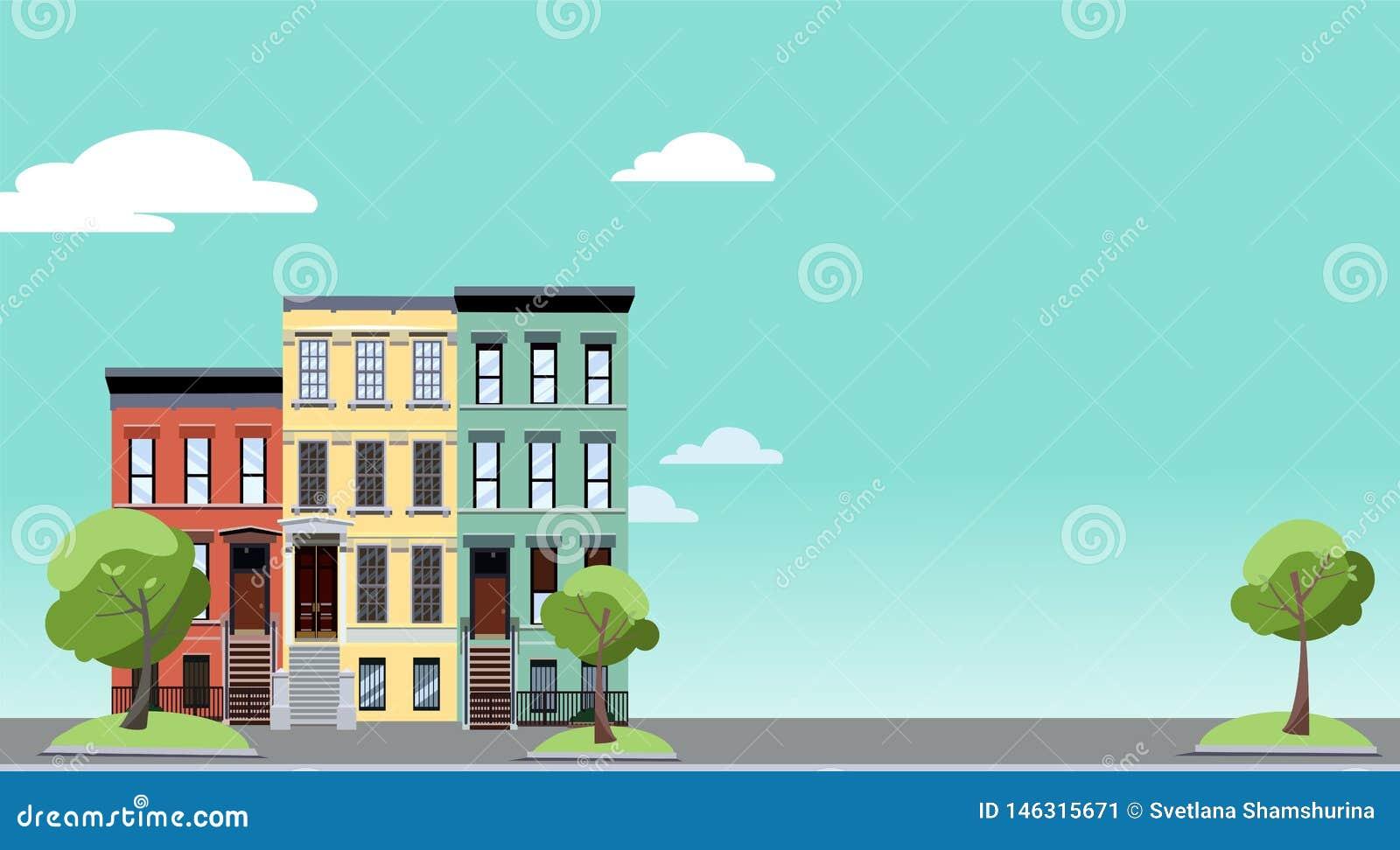 Sommer in der Stadt Horizontaler Hintergrund mit buntem Stadtbild mit gemütlichen grünen Bäumen nahe zwei-berühmten Häusern Fahne