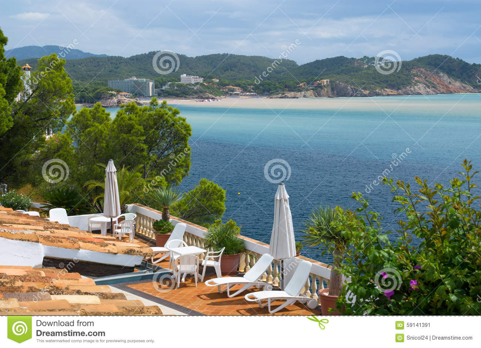 Sommer Hause-Landhaus terace sunbeds an der Mallorca-Seeseite