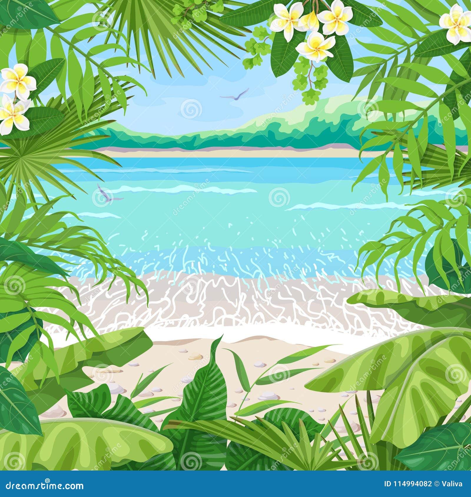 Sommer-Hintergrund Mit Tropischem Rahmen Auf Küste Vektor Abbildung ...