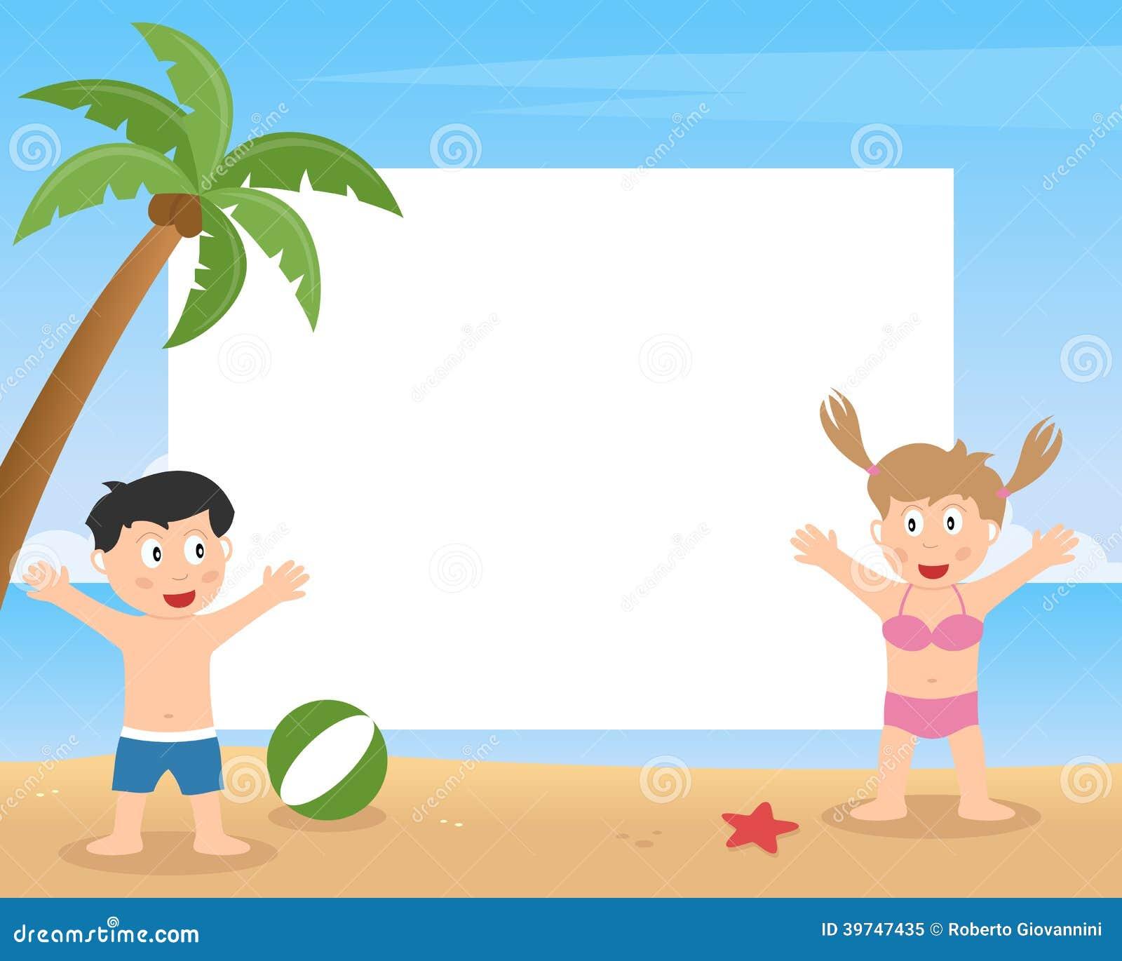 Sommer-Kinder, Die Foto-Rahmen Spielen Vektor Abbildung ...