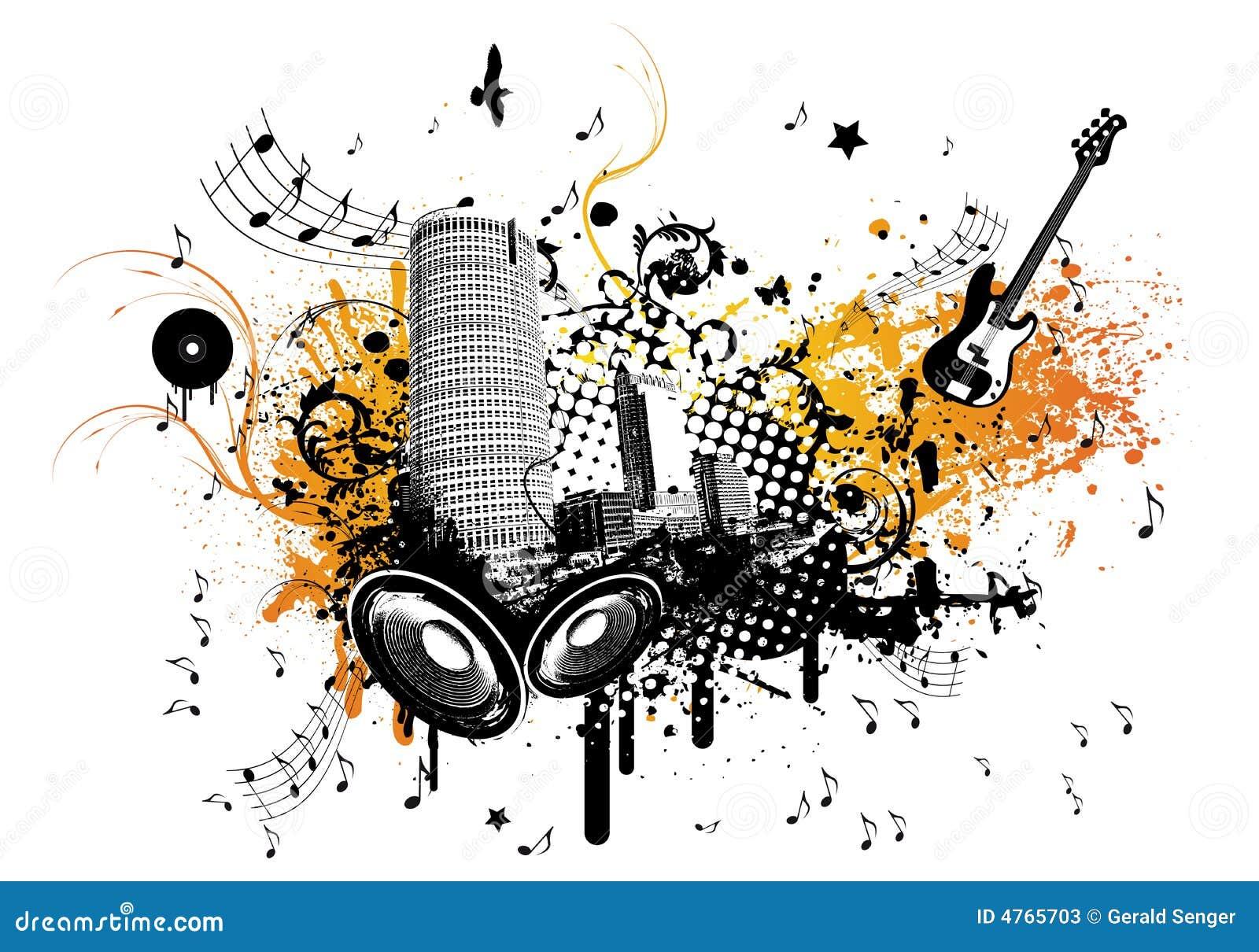 Sommer-Musik-Stadt vektor abbildung. Illustration von ...