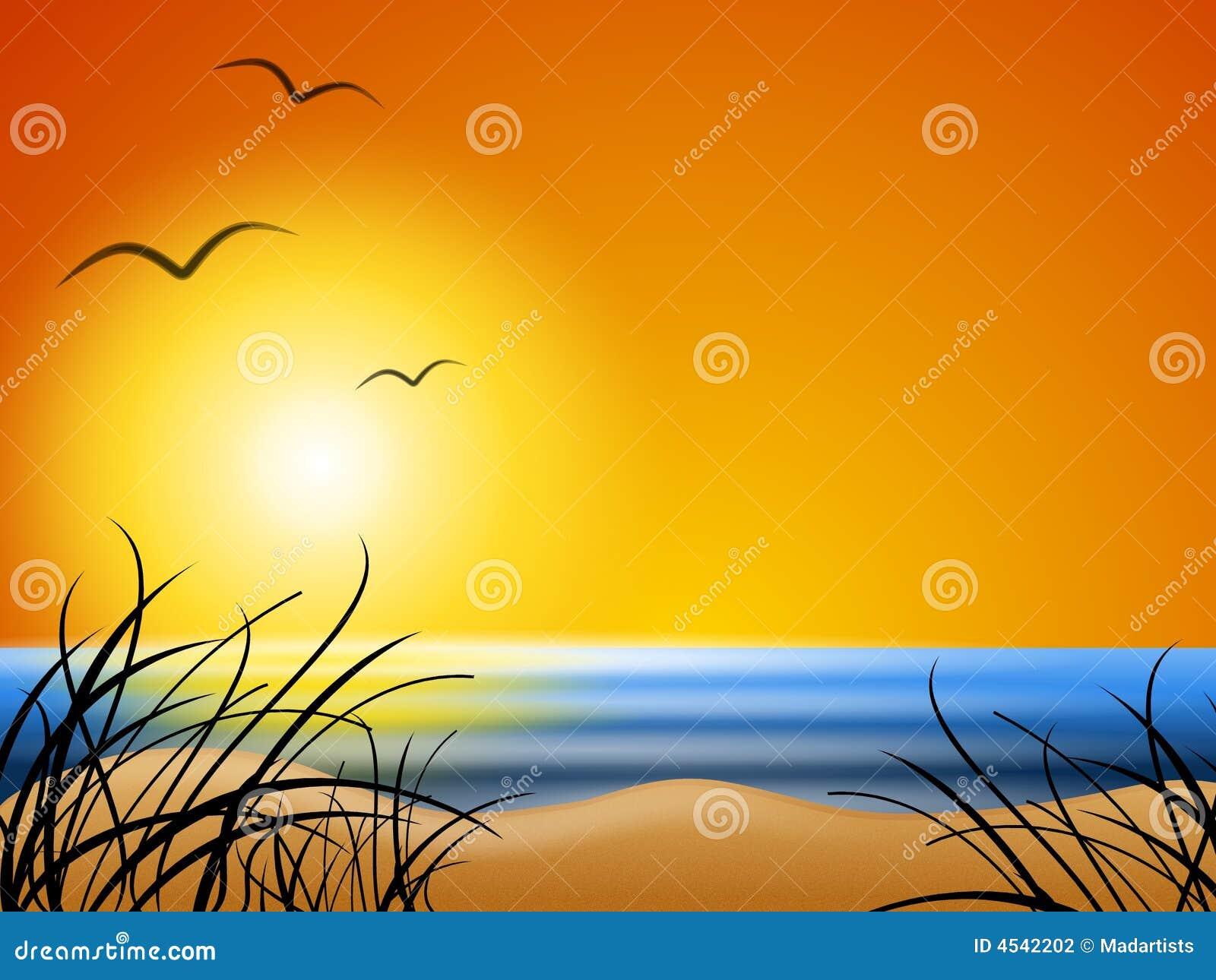 Sommer-Strand-Sonnenuntergang-Hintergrund