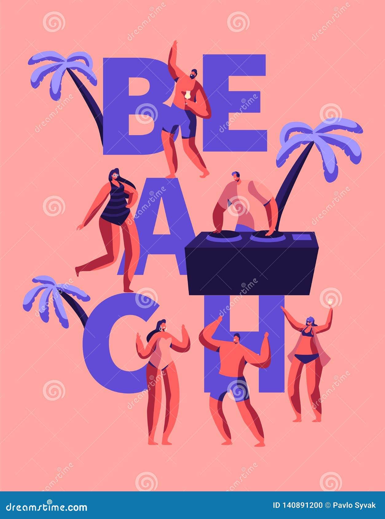 Sommer-Strandfest-glückliches Party-Typografie-Plakat Tropische Verein-DJ-Spiel-Musik für die Leute im Freien Charakter-Tanz in H