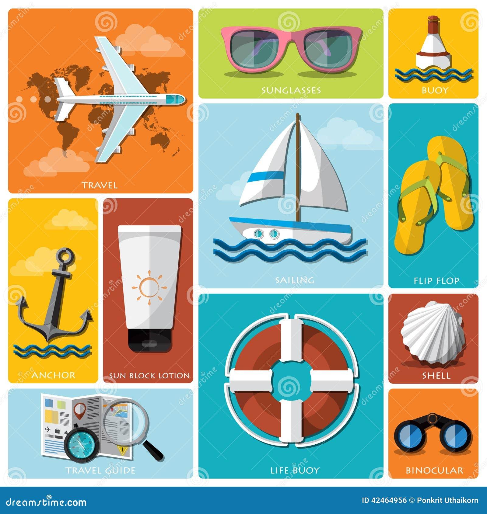 Sommer-und Reise-flacher Ikonen-Satz