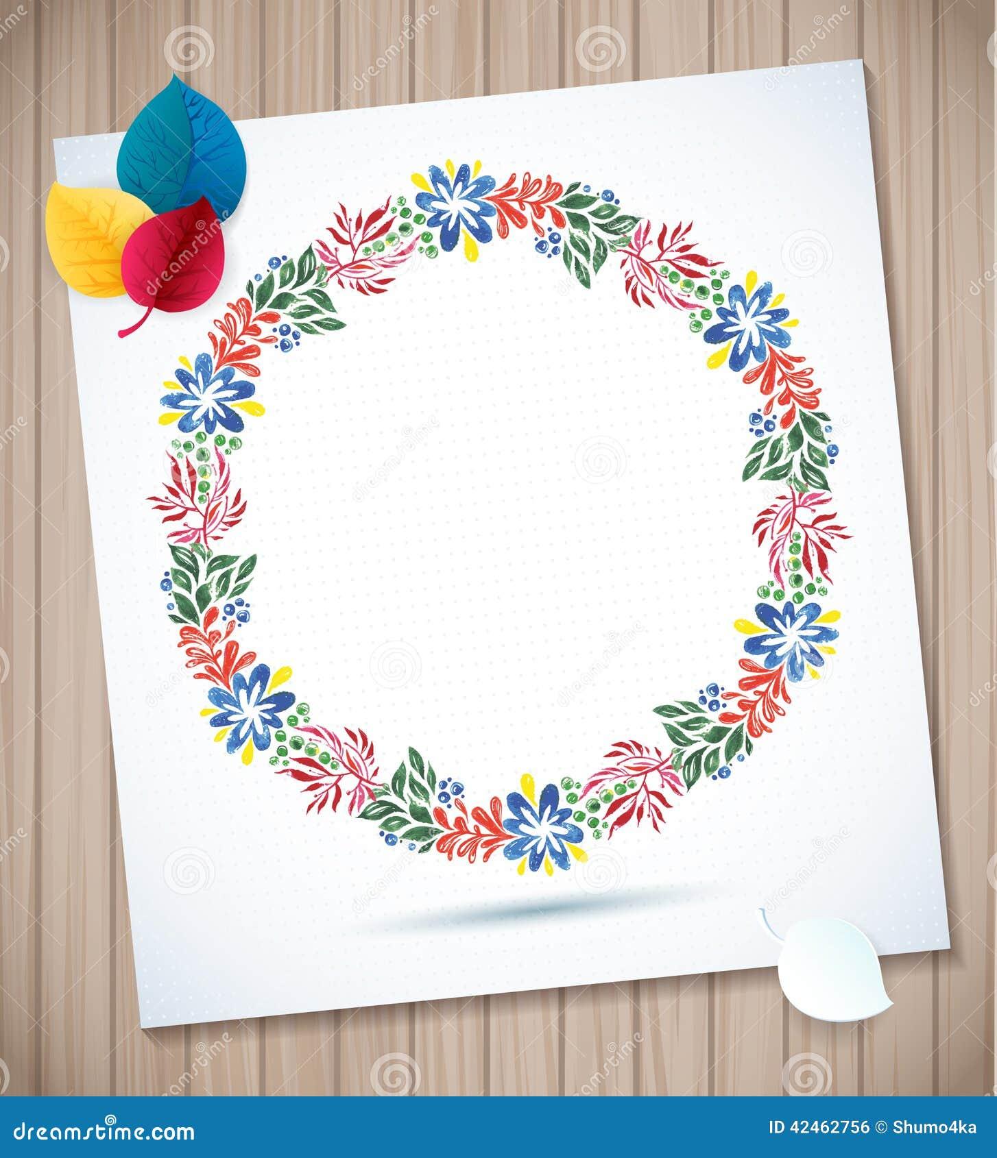 Sommeraquarellblumenkranz-Papierblume auf hölzernem Planken Grußkartenhintergrund