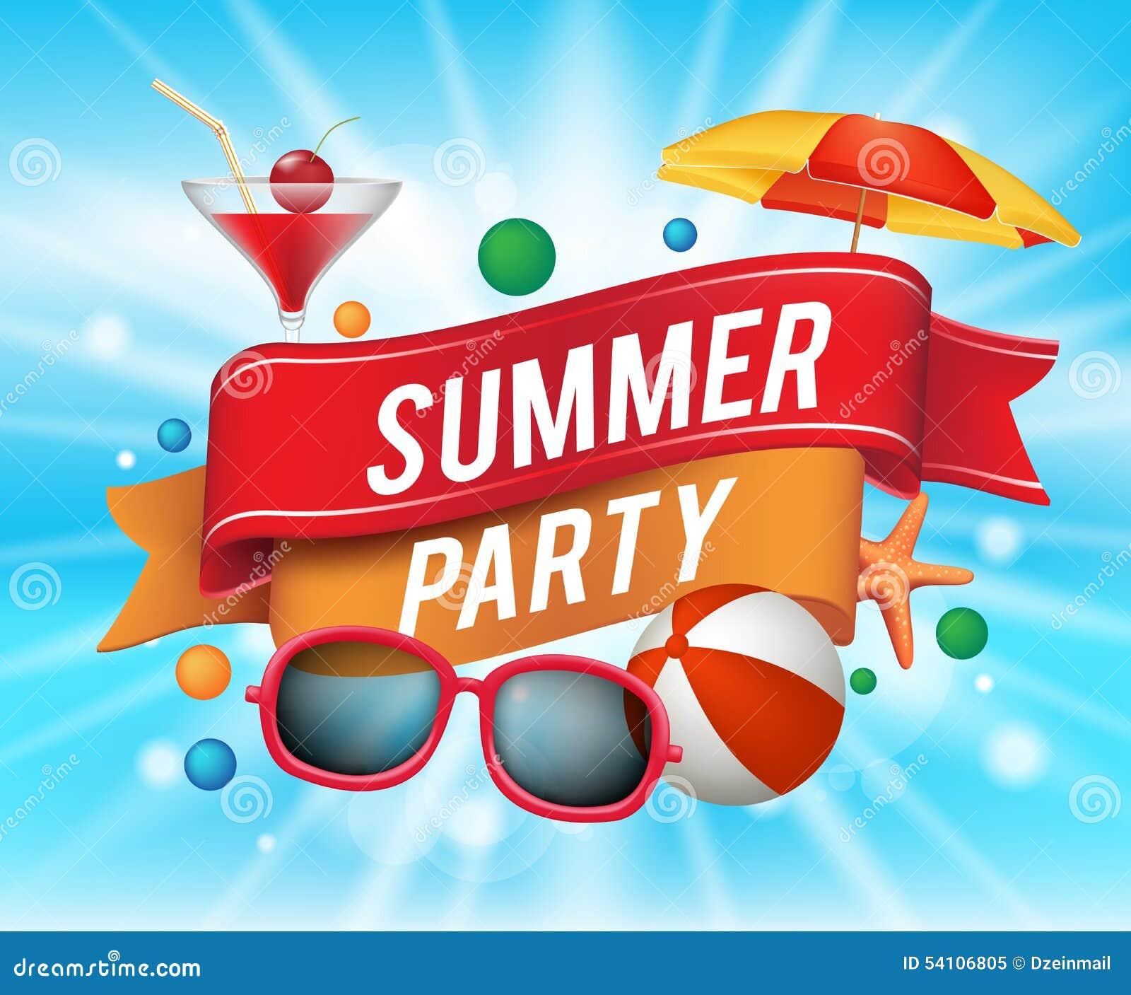 Sommerfest-Plakat Mit Bunten Elementen Vektor Abbildung - Bild: 54106805