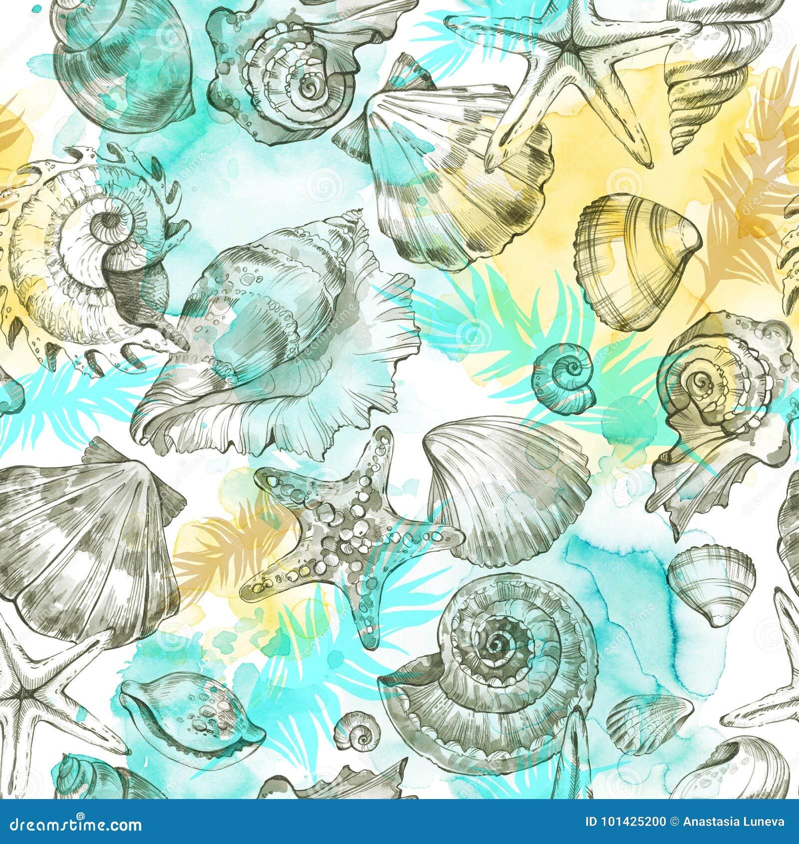 Sommerfestfeiertagshintergrund, Aquarellillustration Nahtloses Muster mit Seeoberteilen, -mollusken und -palmblättern