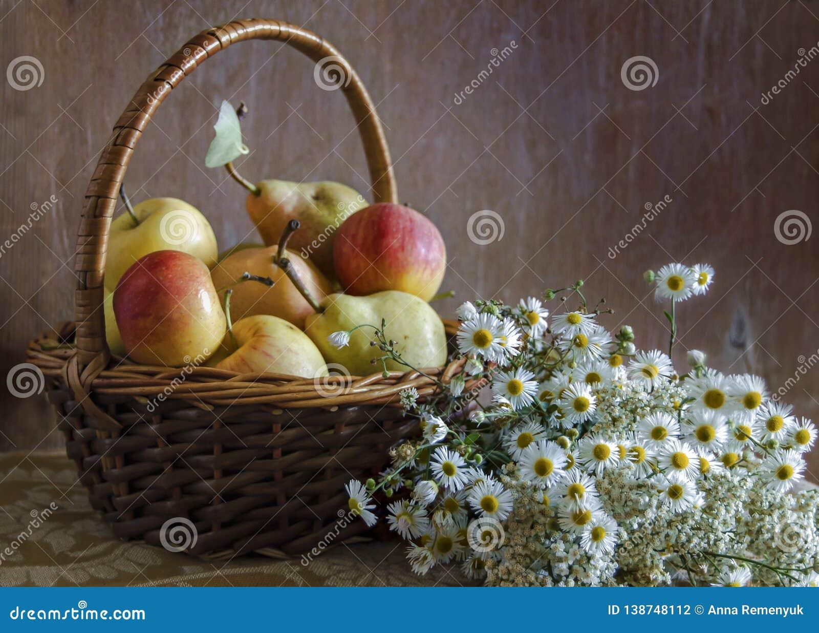 Sommerfrucht und Blumenstimmung Wohlriechende Kamille und reife süße Äpfel