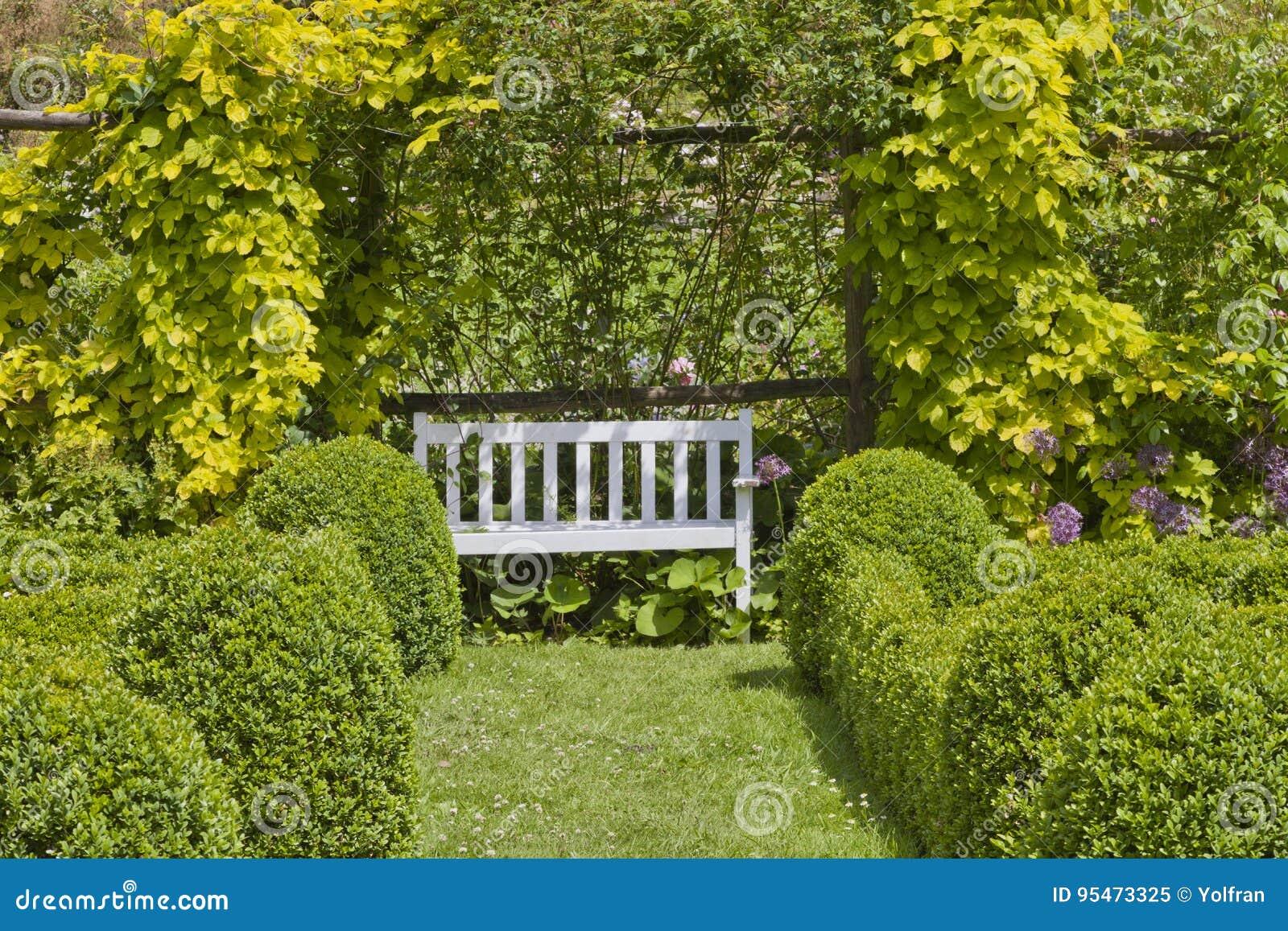 Sommergarten Mit Weißer Bank Kasten Trimmte Hecke Stockbild