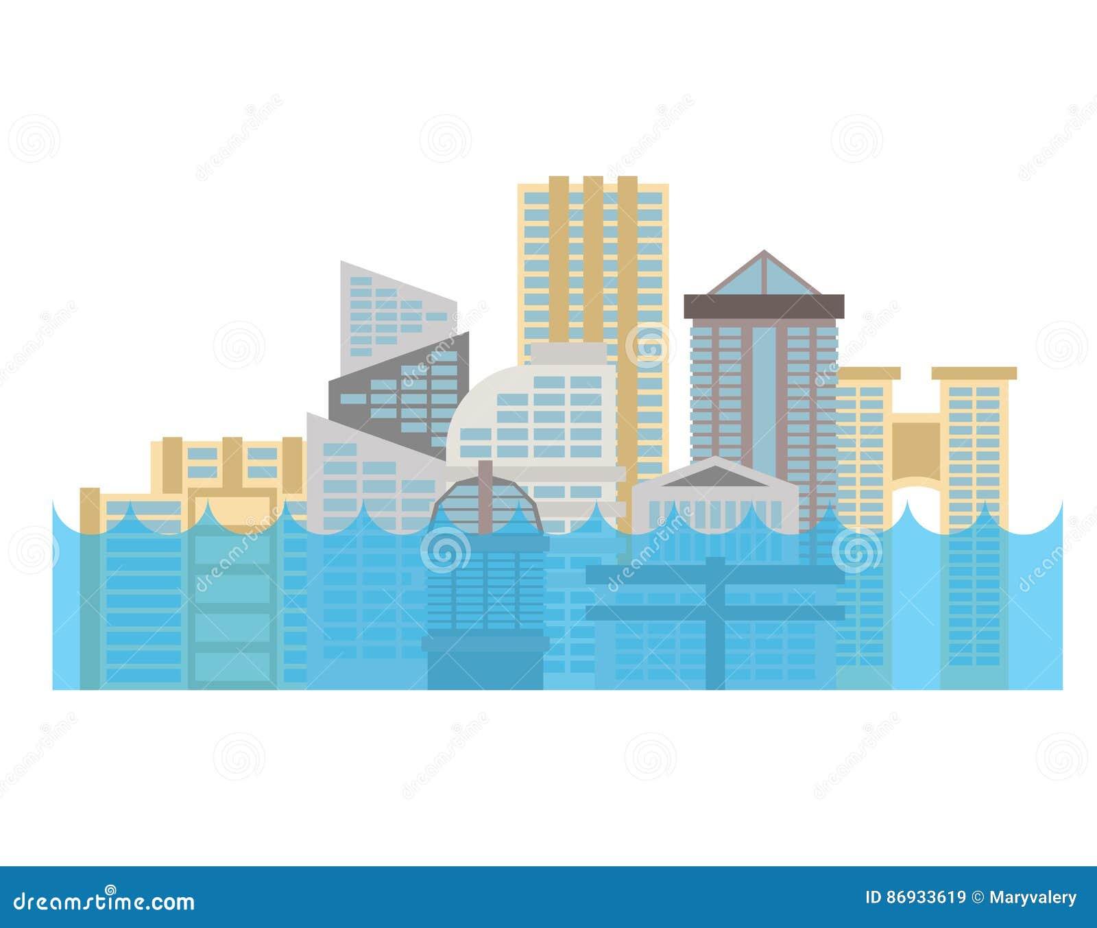 Sommergendosi nella città Inondazione in città La Camera si è sommersa Costruzione nel wate