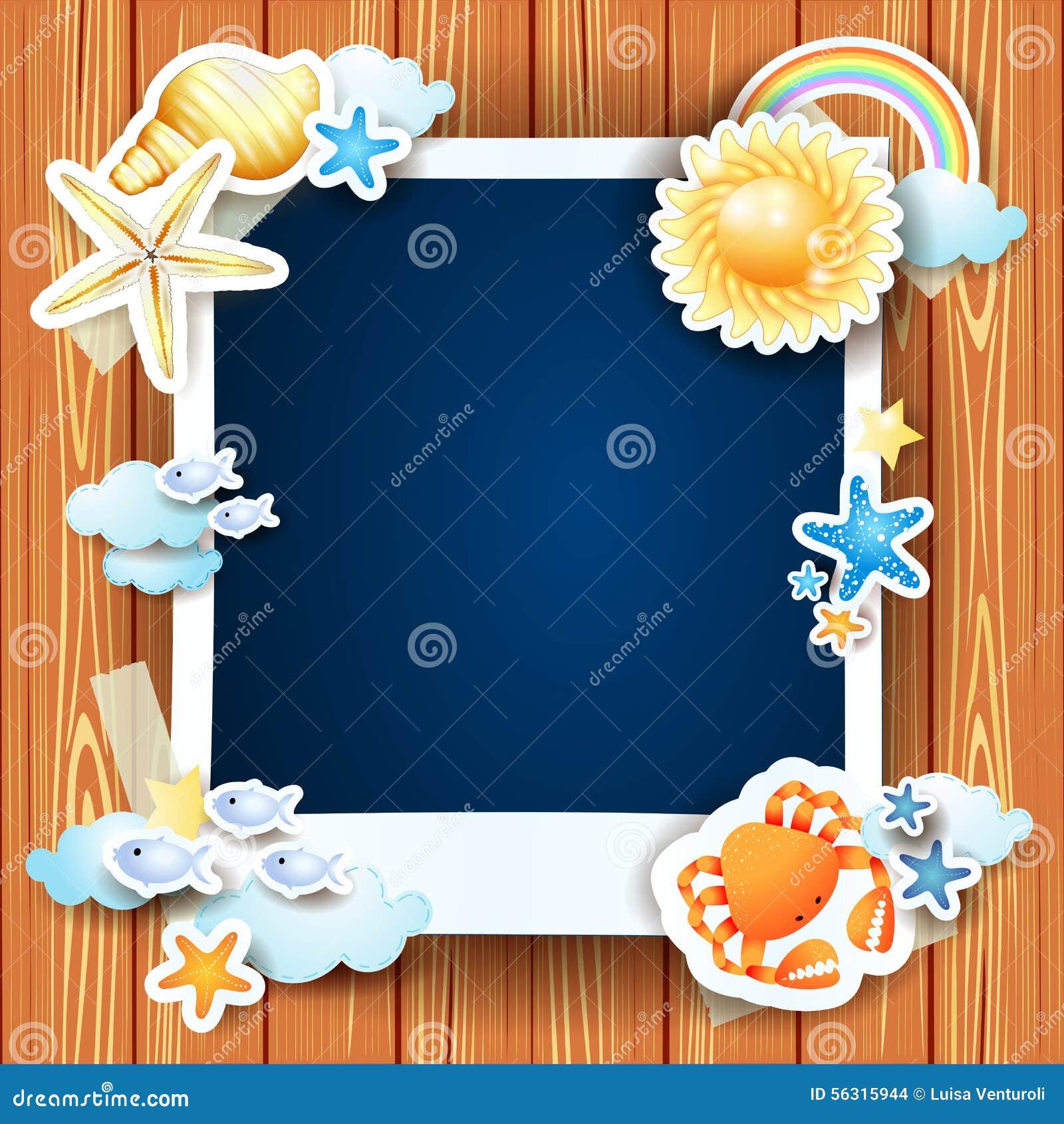 Sommerhintergrund mit Fotorahmen und -oberteilen
