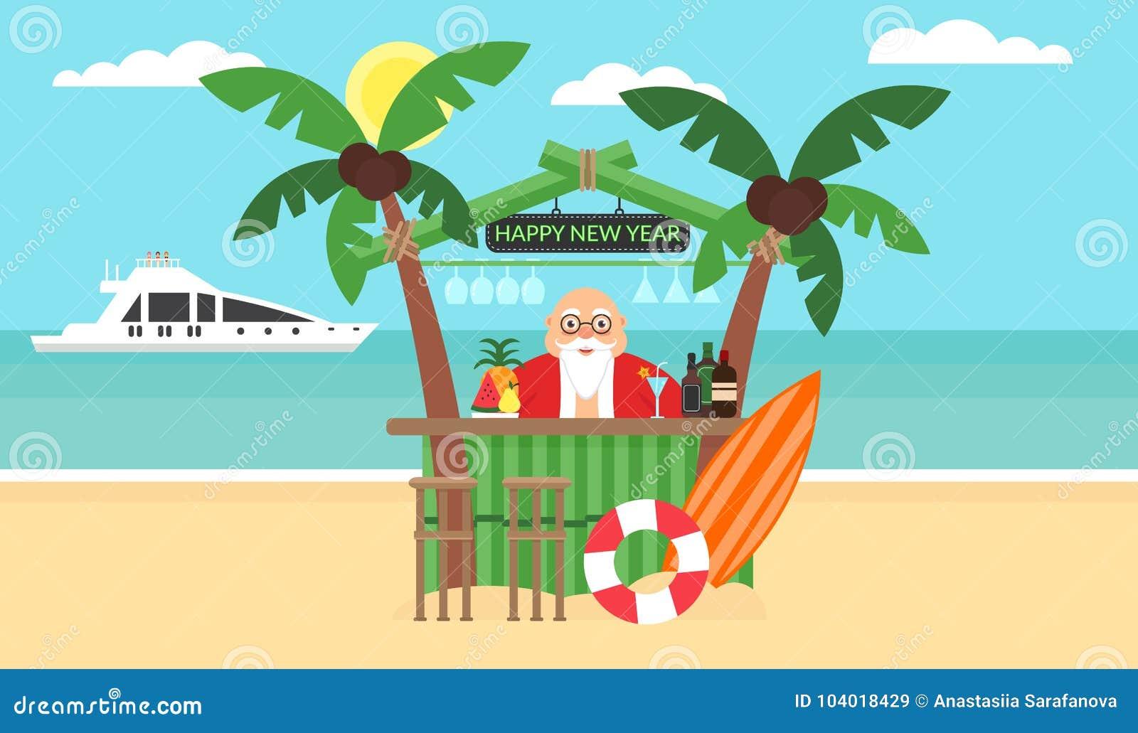 Sommerhintergrund - Sonniger Strand Frohe Weihnachten Und Neues Jahr ...