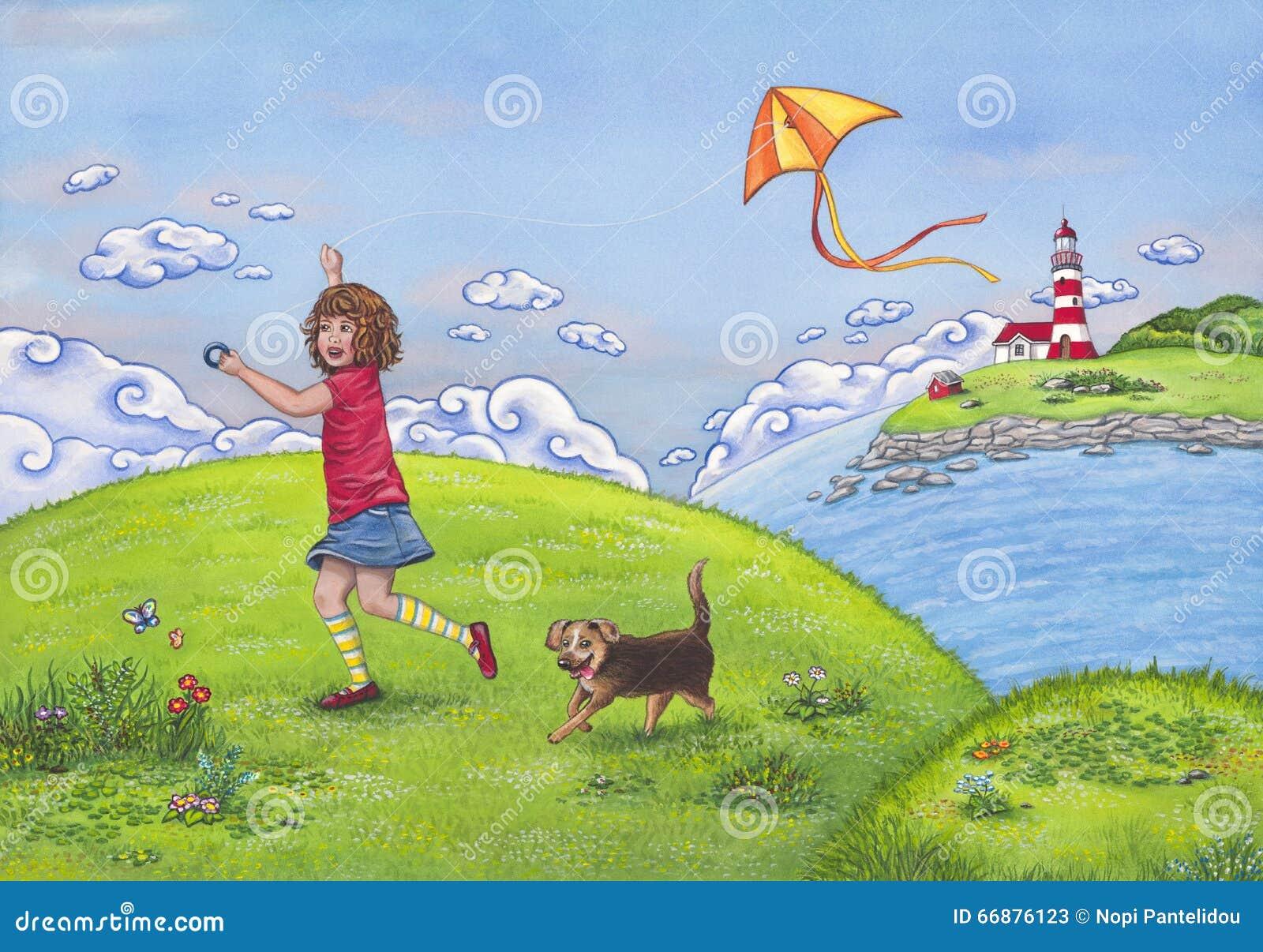 Sommerlandschaft mit einem Mädchen, das auf einem Hügel, spielend mit einem Drachen und ihrem netten Hund läuft