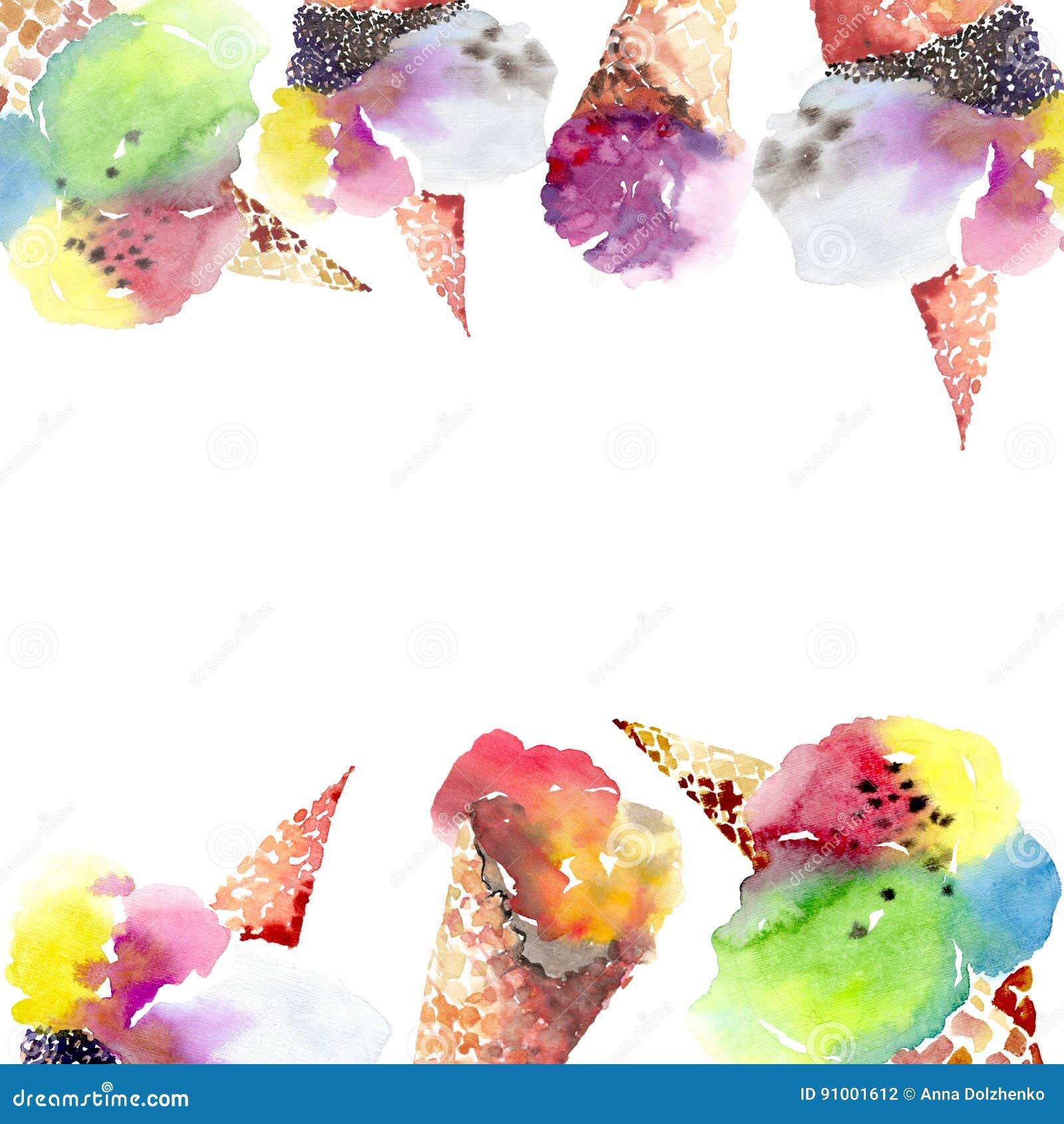 Sommernachtisch-Eiscreme der schönen hellen köstlichen geschmackvollen Schokolade leckere in einem netten Rahmen des Waffelhorns
