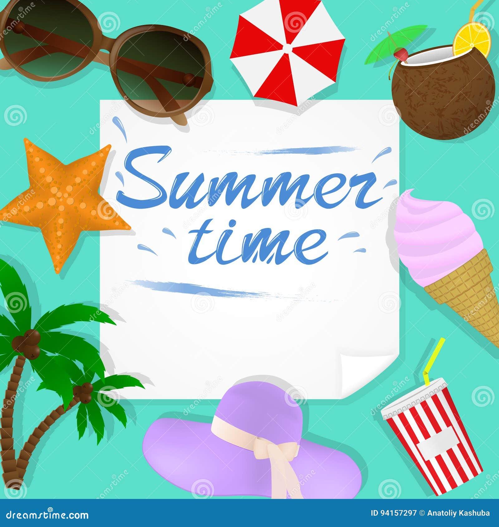 Sommerreiseschablone Mit Strandzubehör Wie Palmtree, Frischem ...