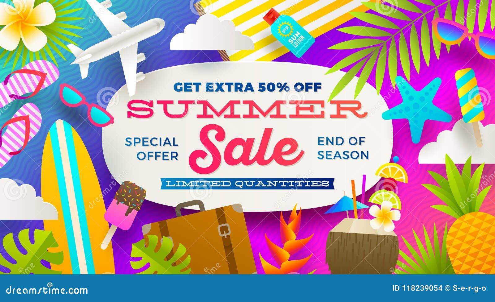 Sommerschlussverkaufförderungsfahne Ferien, Feiertage und bunter heller Hintergrund der Reise Plakat- oder Fliegerdesign