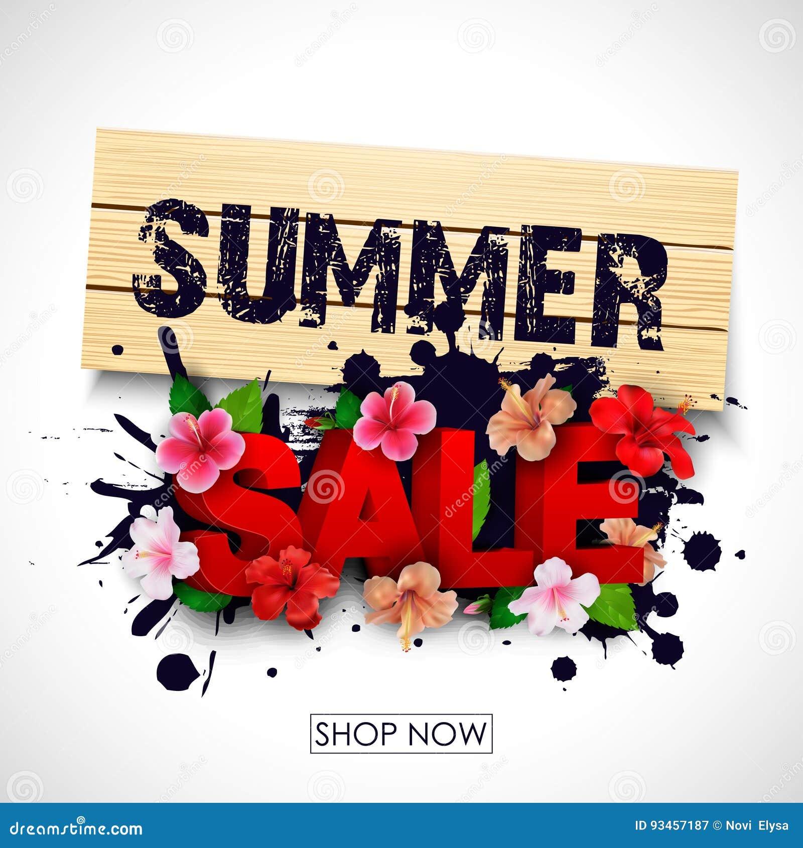 Sommerschlussverkaufhintergrund mit tropischen Blumen