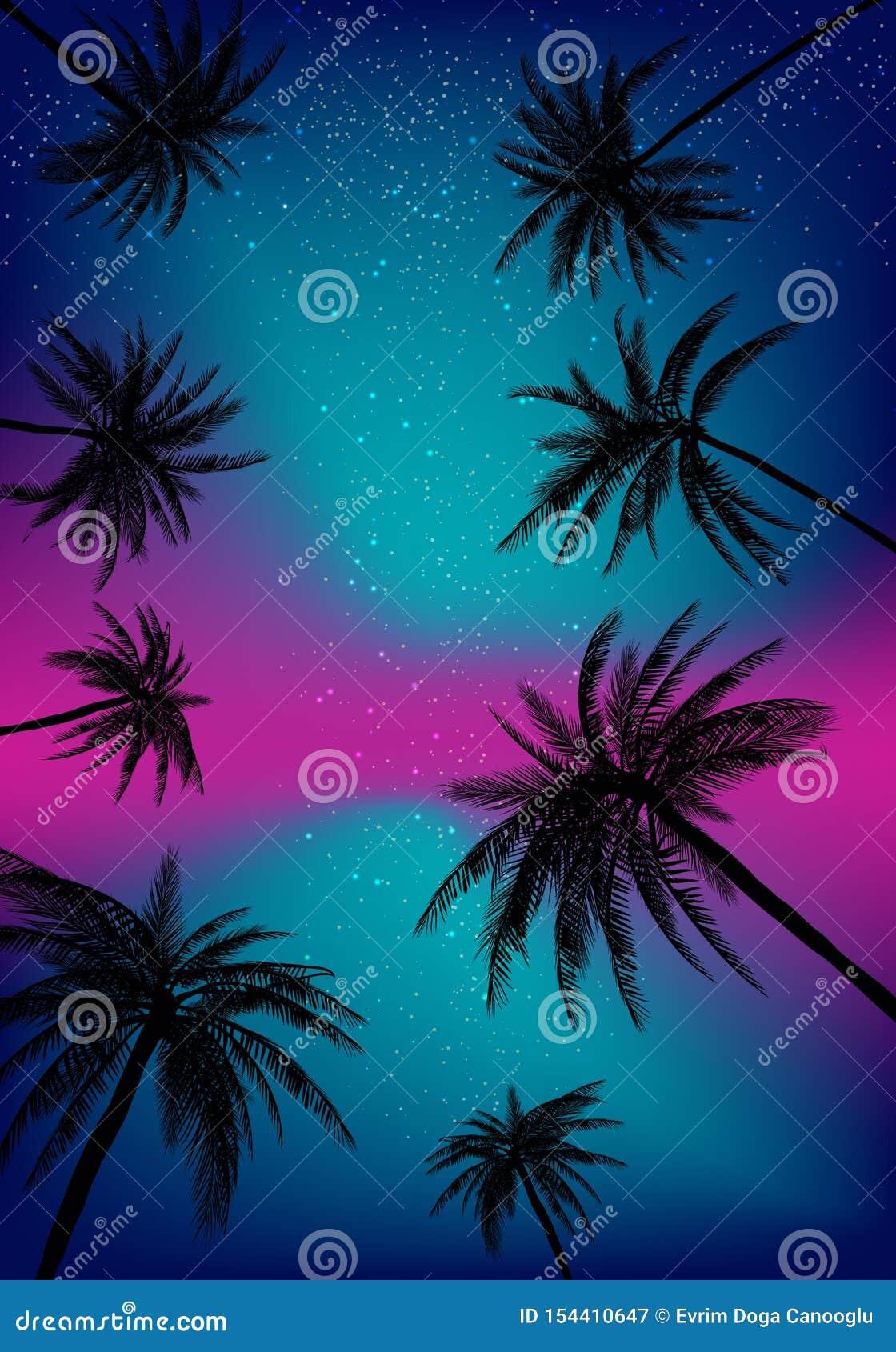 Sommersonnenuntergang-Palmen Schöne tropische, exotische Espritwolken im Himmel Auch im corel abgehobenen Betrag ENV 10