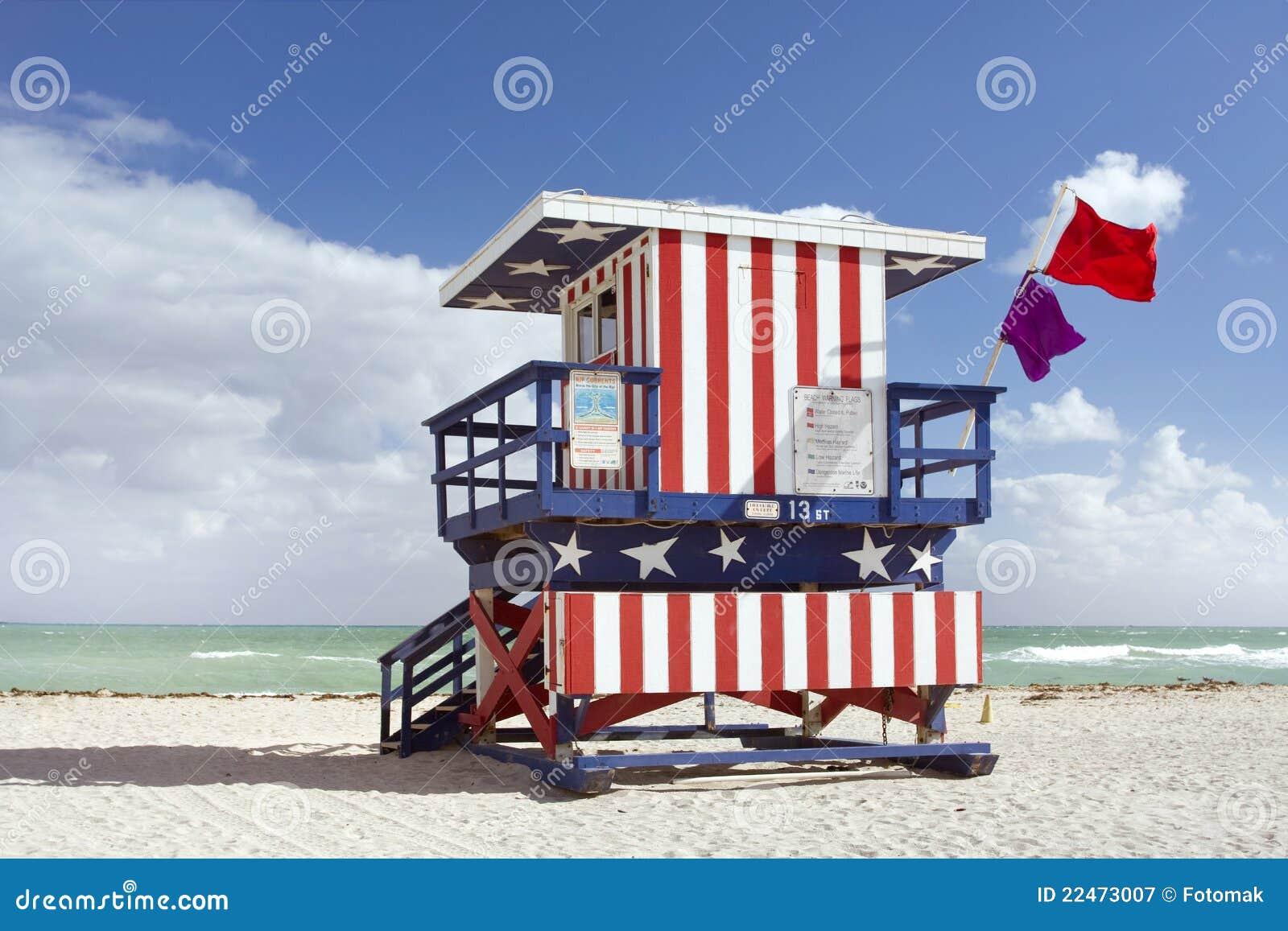Sommerszene mit einem Leibwächterhaus in Miami Beach