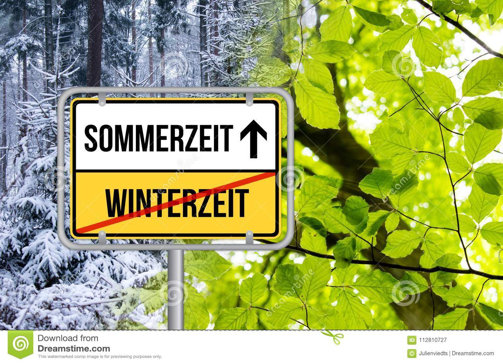 Sommerzeit DST Zeitumstellung von Winterzeit auf Sommerzeit Schild