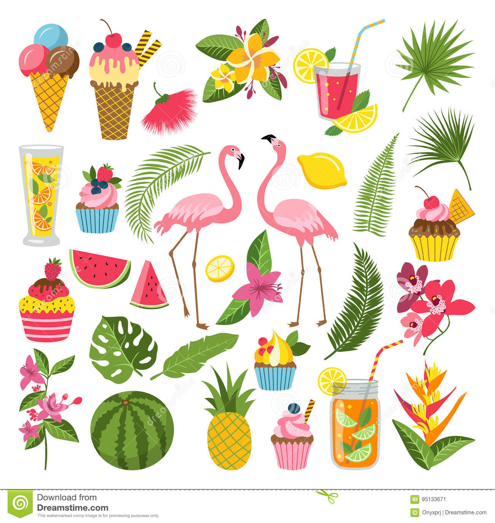 Sommerzeit-Kennsatzfamilie für tropische Partei Verschiedene Ikonen in der flachen Art Getränke, Wassermelone, Limonade und Flami