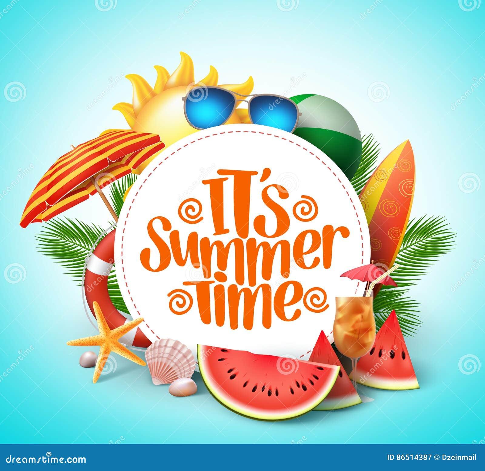 Sommerzeit-Vektorfahnendesign mit weißem Kreis