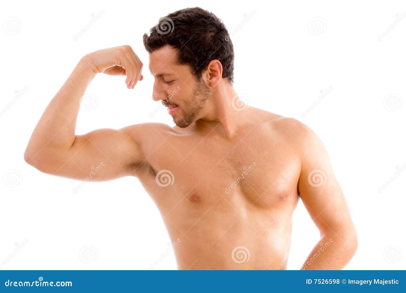 Son homme de regard muscles intense