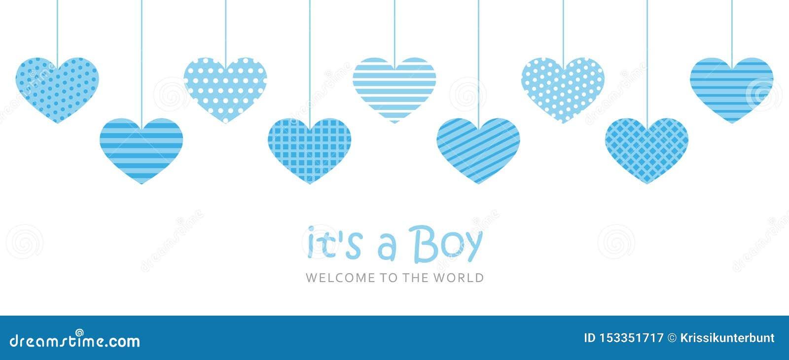 Son une carte de voeux d accueil de garçon pour l accouchement avec les coeurs accrochants